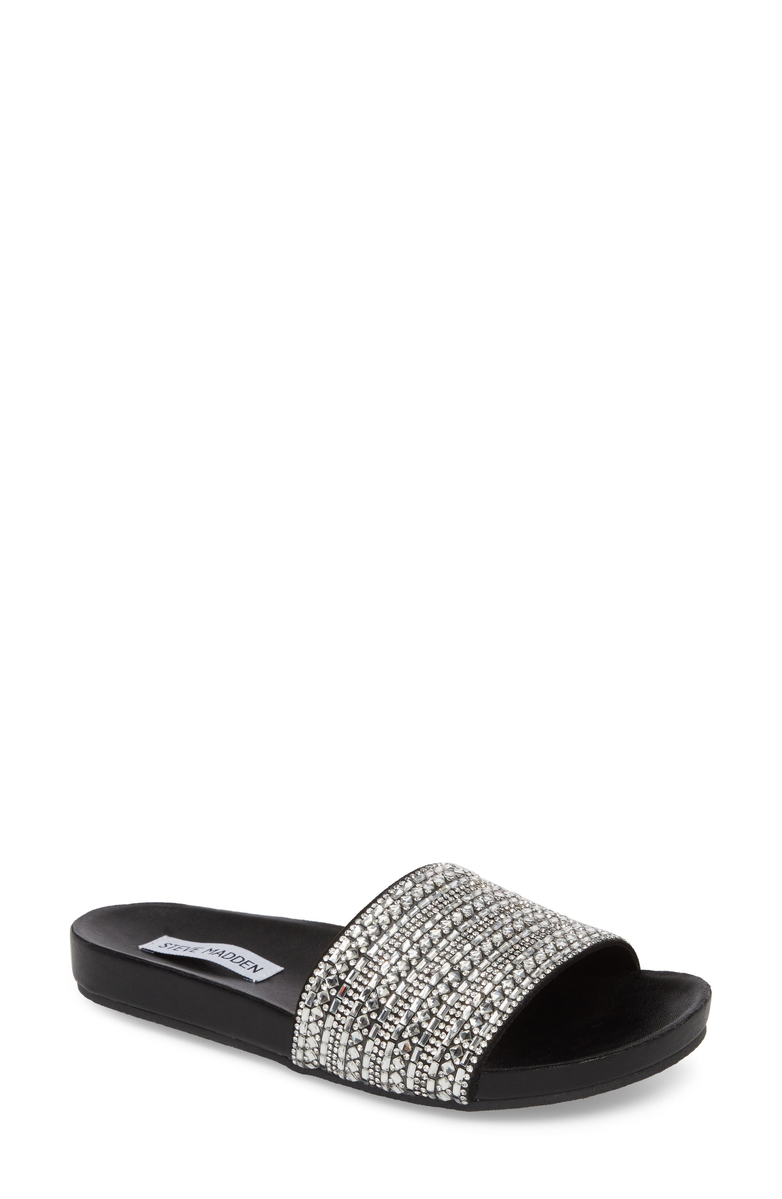 Alternate Image 1 Selected - Steve Madden Dazzle Embellished Slide Sandal (Women)