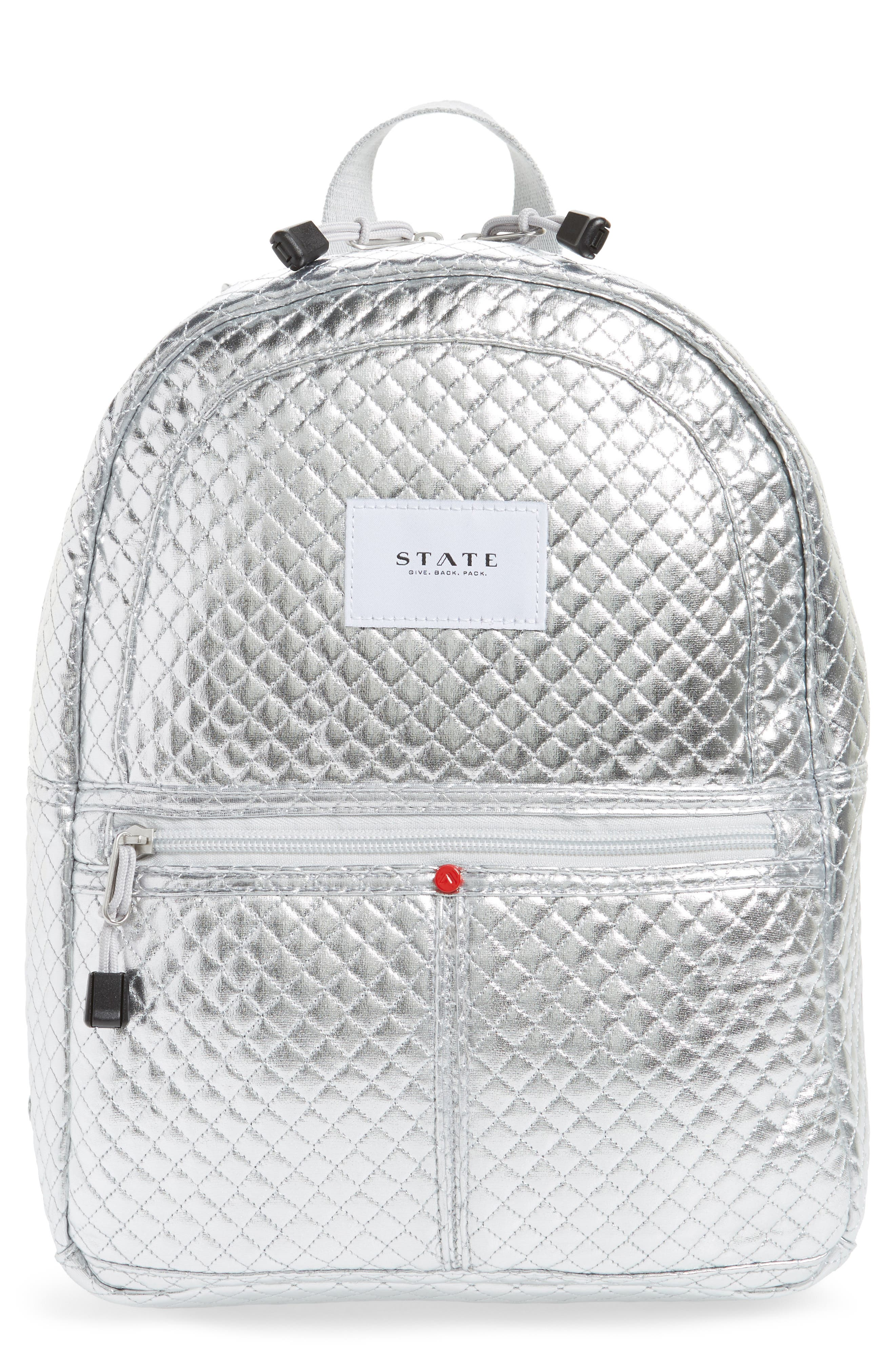 Flatbush Mini Kane Backpack,                             Main thumbnail 1, color,                             Silver Quilted