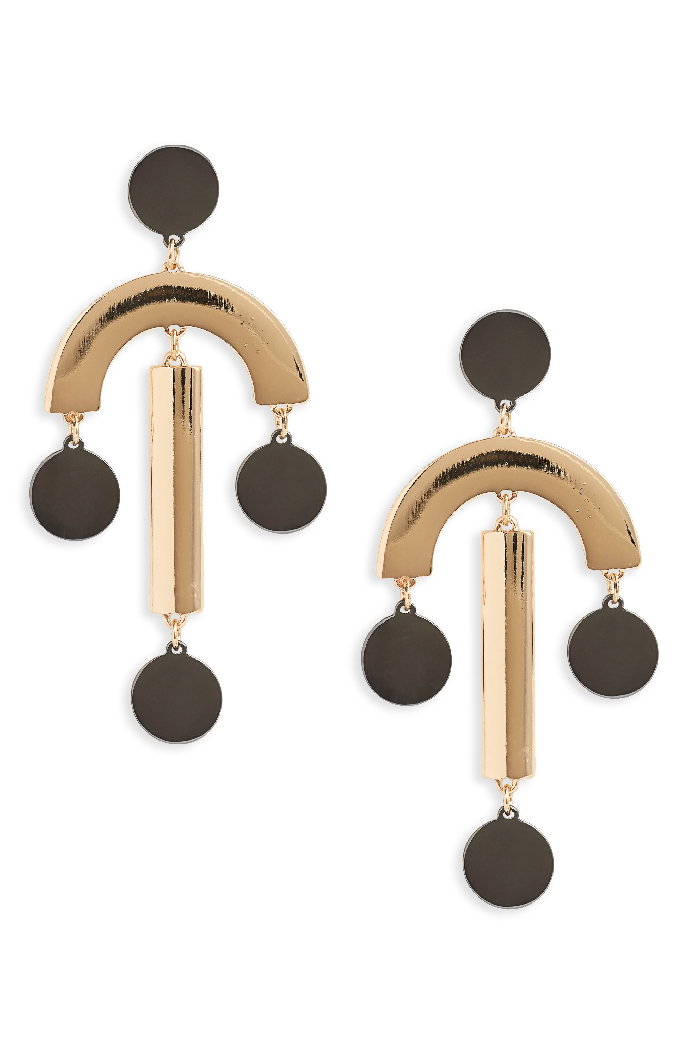 Geometric Statement Earrings,                         Main,                         color, Crystal/ Gold