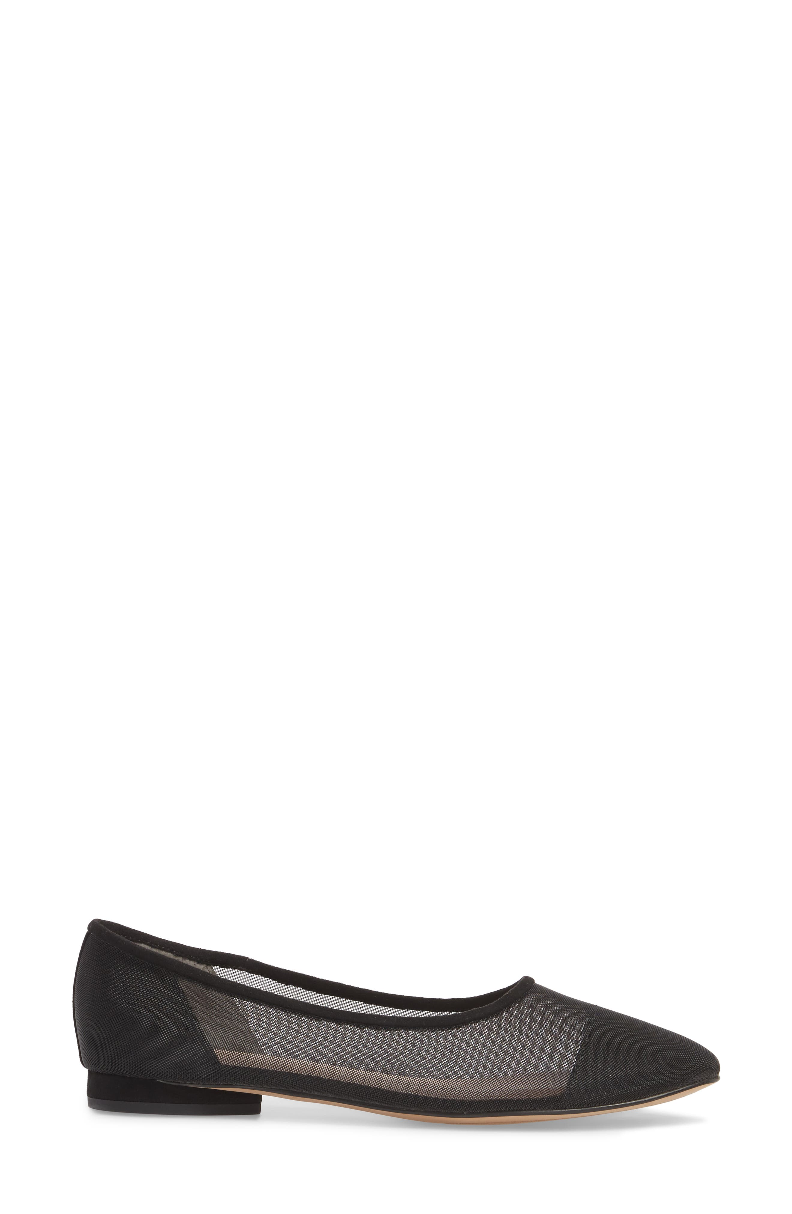 Marian Mesh Inset Flat,                             Alternate thumbnail 3, color,                             Black Suede