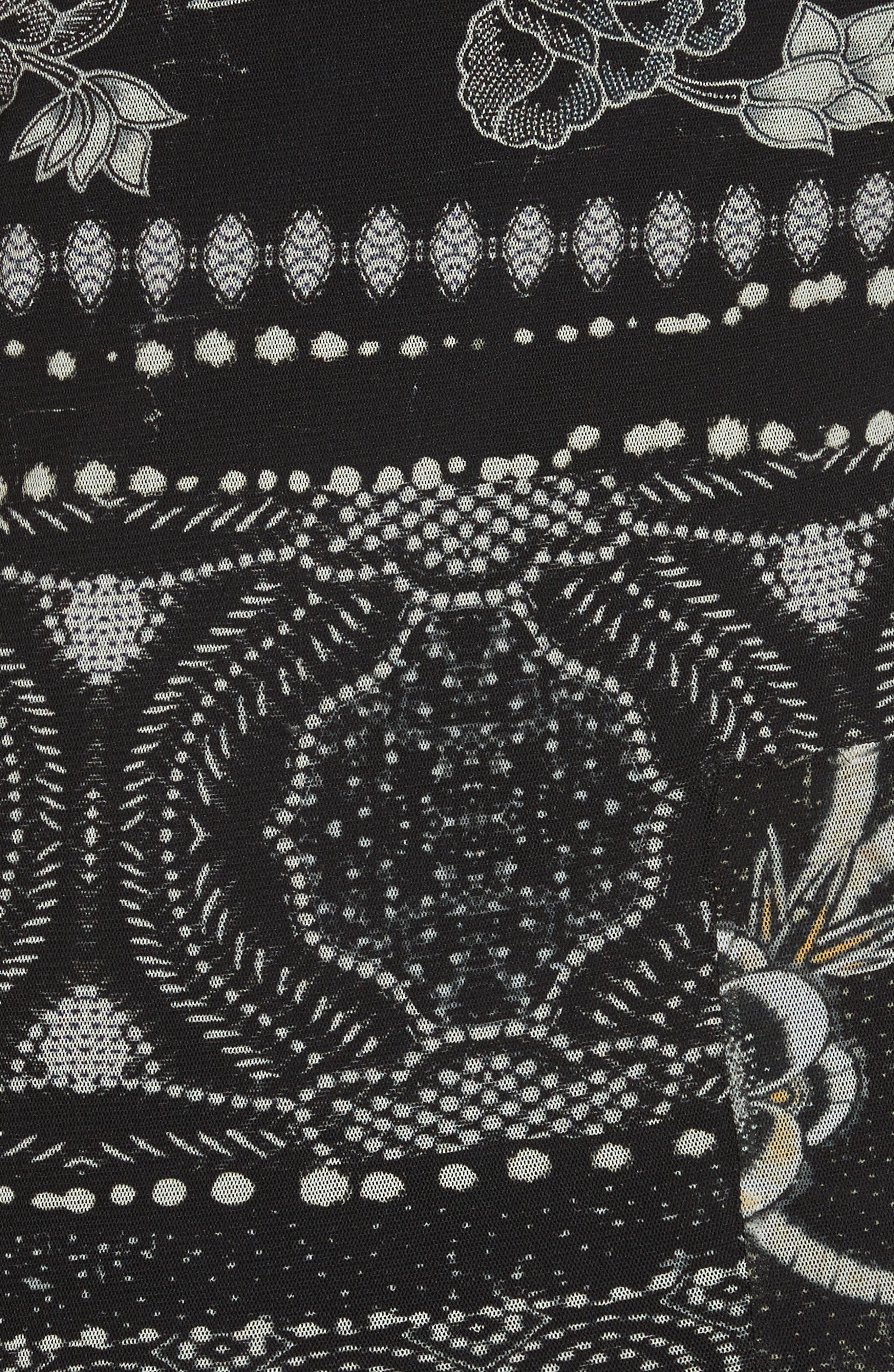 Mixed Print Tulle Body-Ccon Dress,                             Alternate thumbnail 6, color,                             Nero
