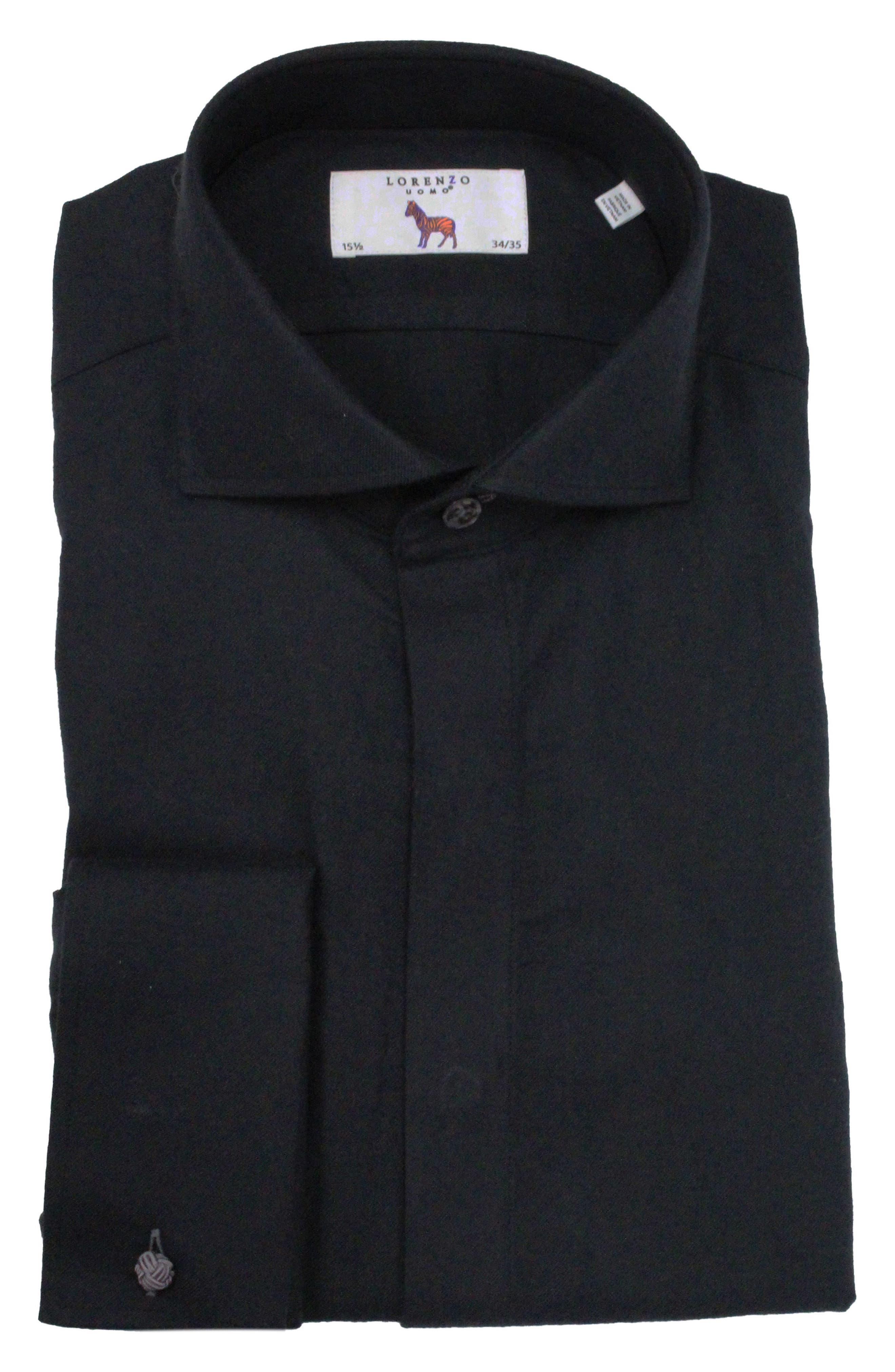 Trim Fit Tuxedo Shirt,                         Main,                         color, Black