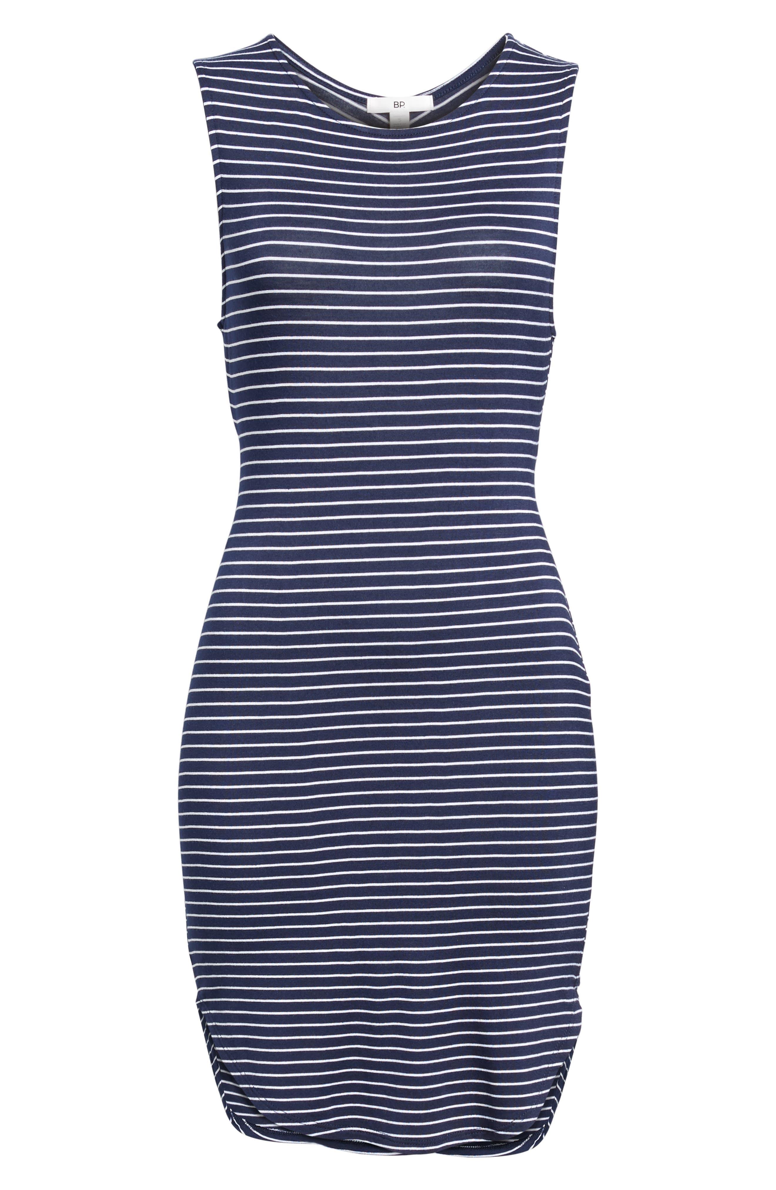 Twist Back Tank Dress,                             Alternate thumbnail 6, color,                             Navy Eclipse Stripe