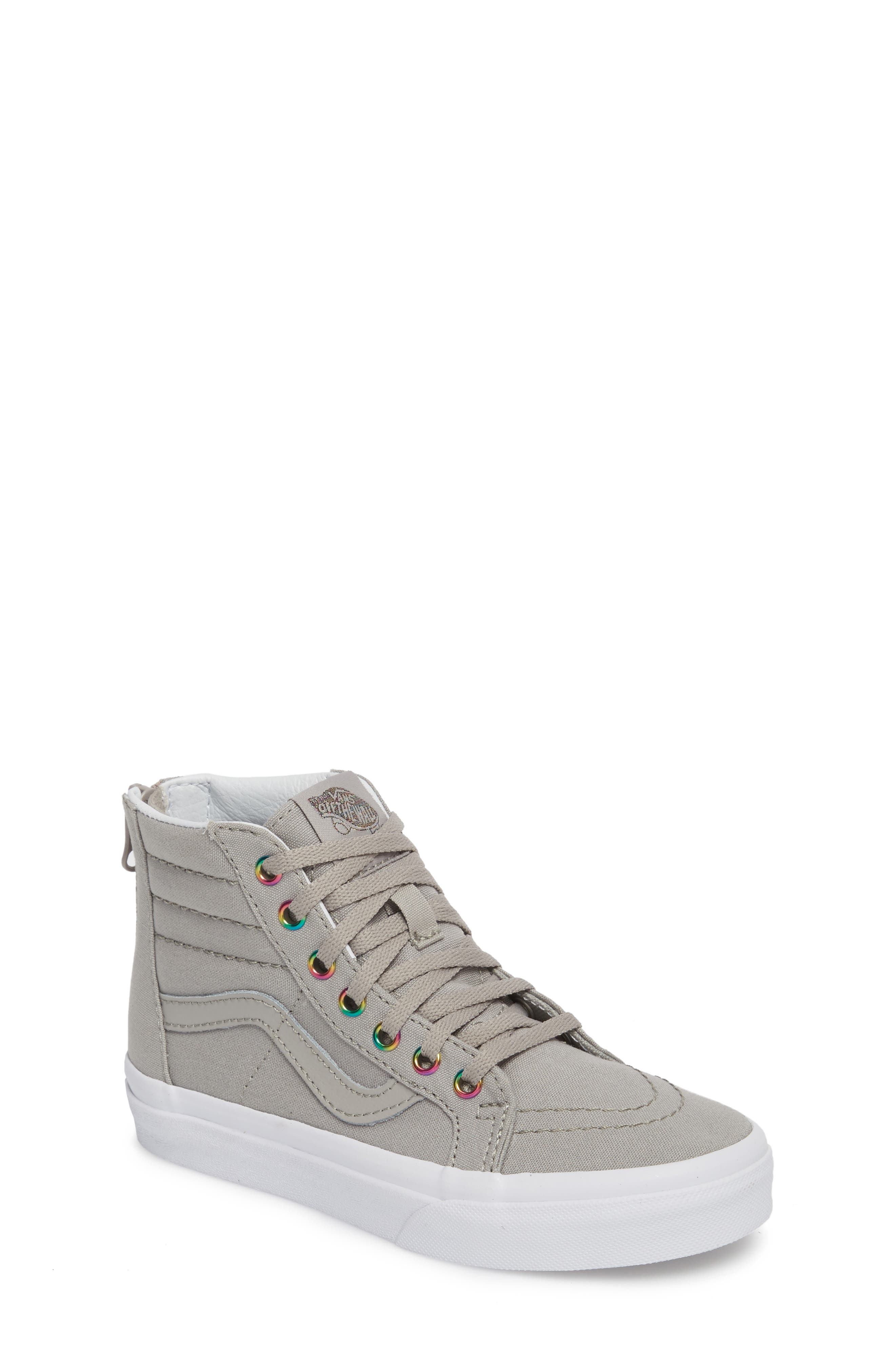 Sk8-Hi Zip High Top Sneaker,                             Main thumbnail 1, color,                             Rainbow Eyelet Drizzle