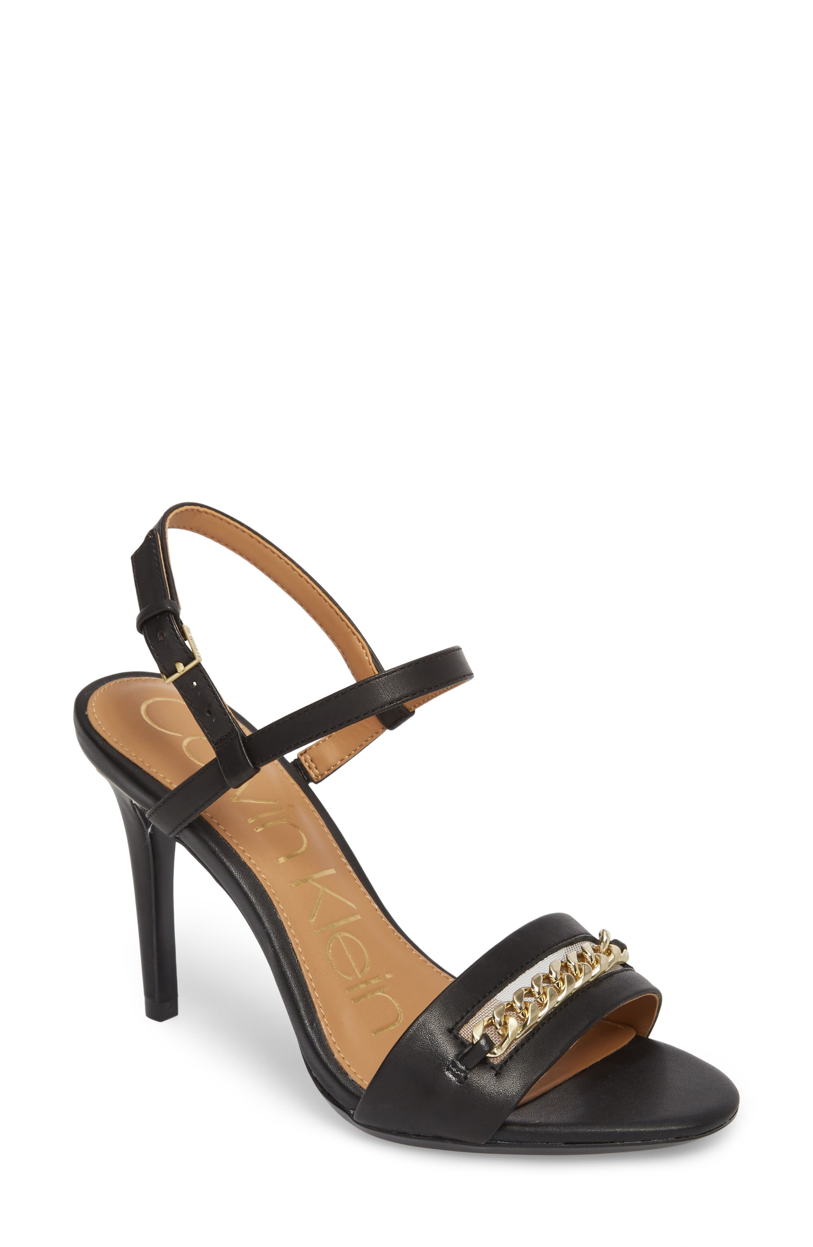 Nori Sandal,                         Main,                         color, Black Leather