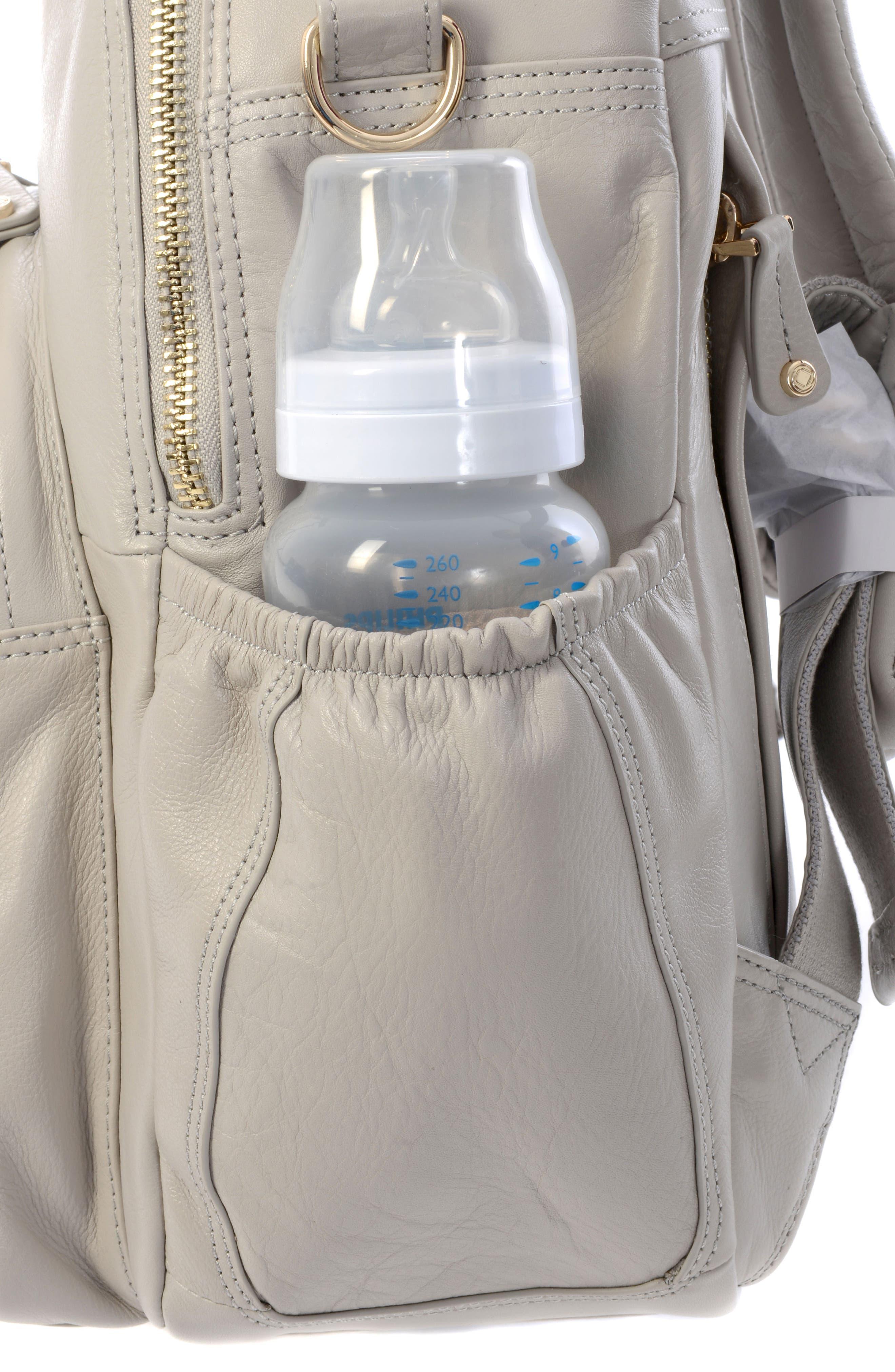 Joy XL Leather Backpack,                             Alternate thumbnail 16, color,                             Ice Grey