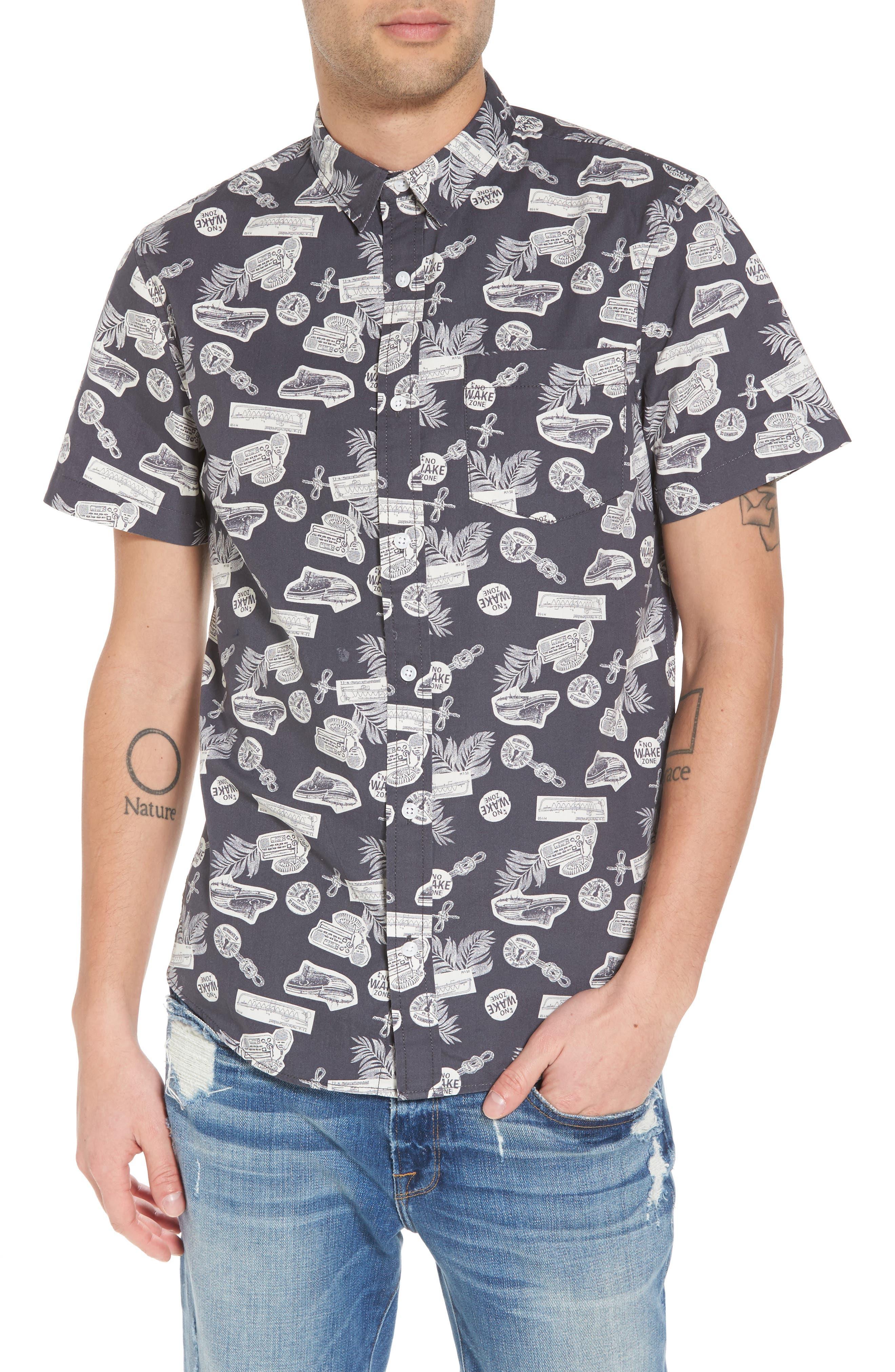 Short Sleeve Print Poplin Shirt,                             Main thumbnail 1, color,                             Grey Onyx Boat Print