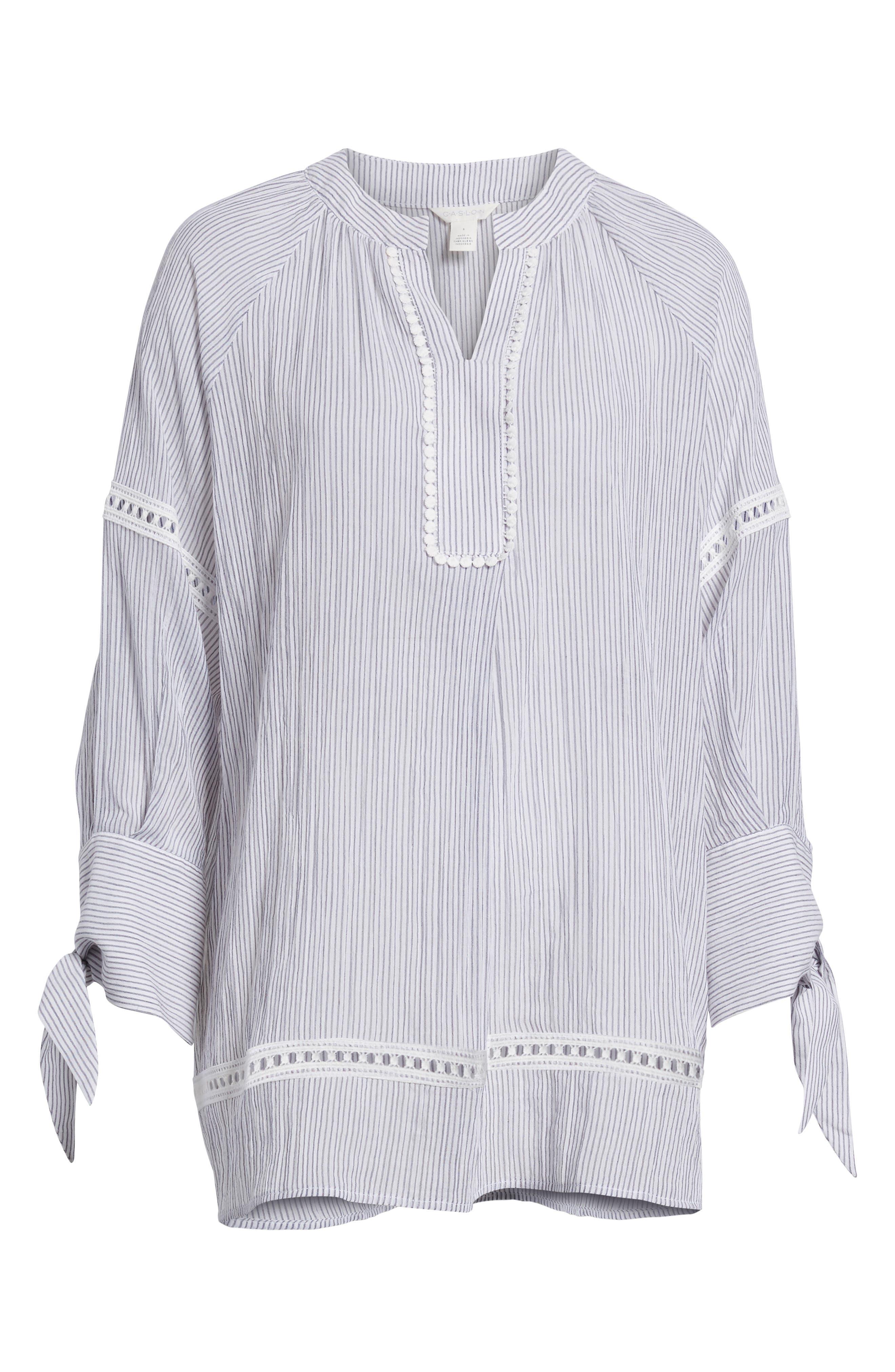 Tie Sleeve Woven Tunic,                             Alternate thumbnail 7, color,                             Navy- White Stripe