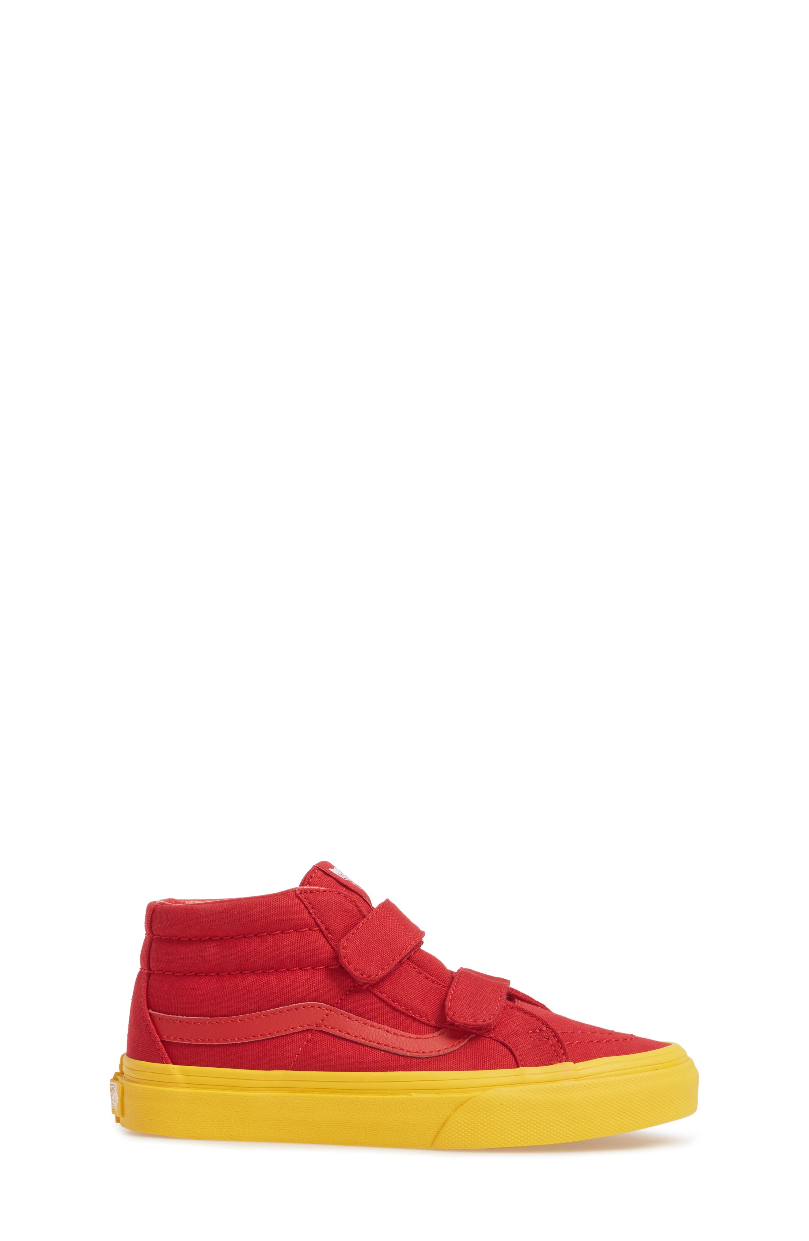 Sk8-Mid Reissue Sneaker,                             Alternate thumbnail 3, color,                             Red/ Gold Cosplay