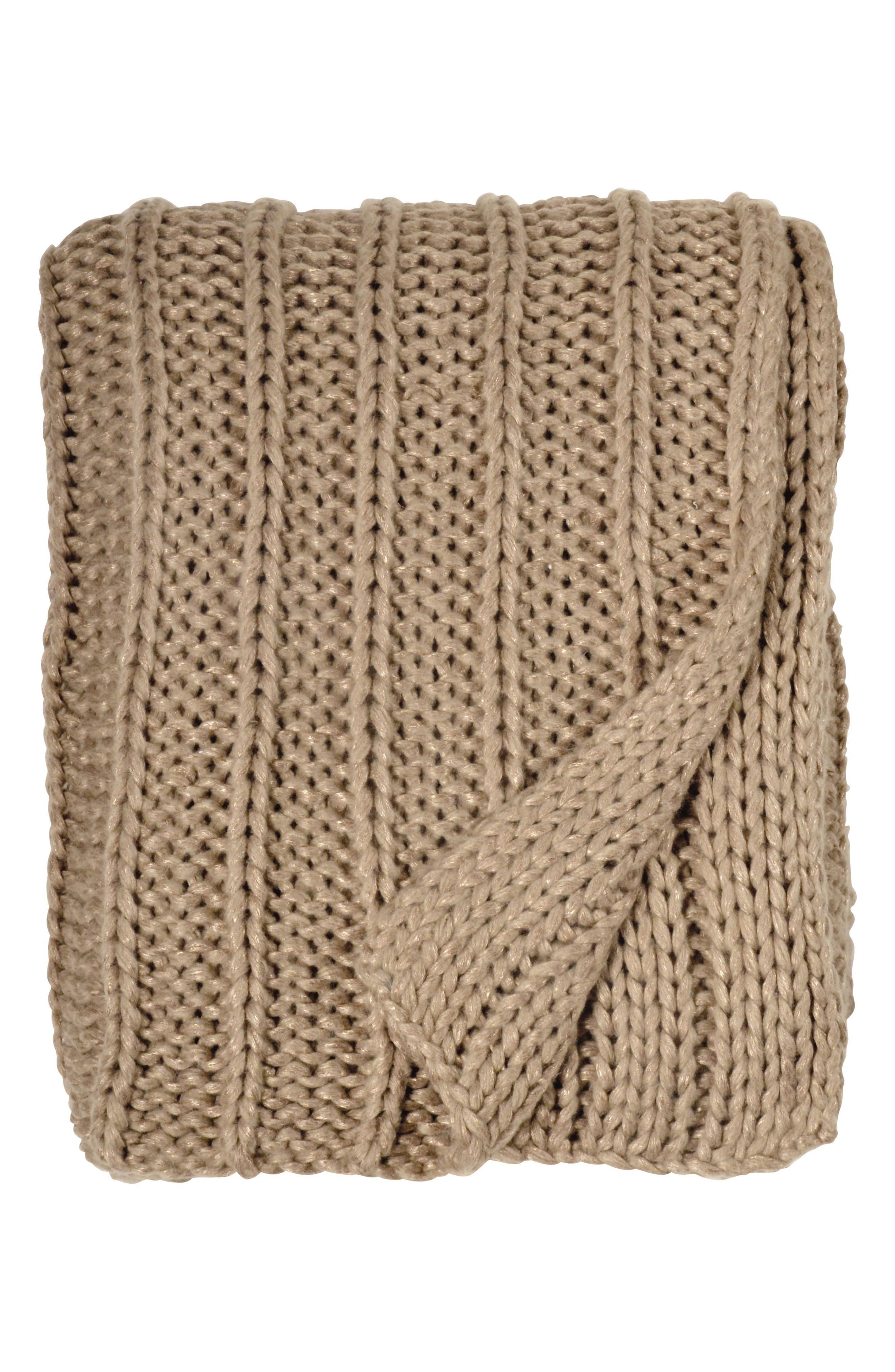 Metallic Rib Knit Throw,                         Main,                         color, Gold