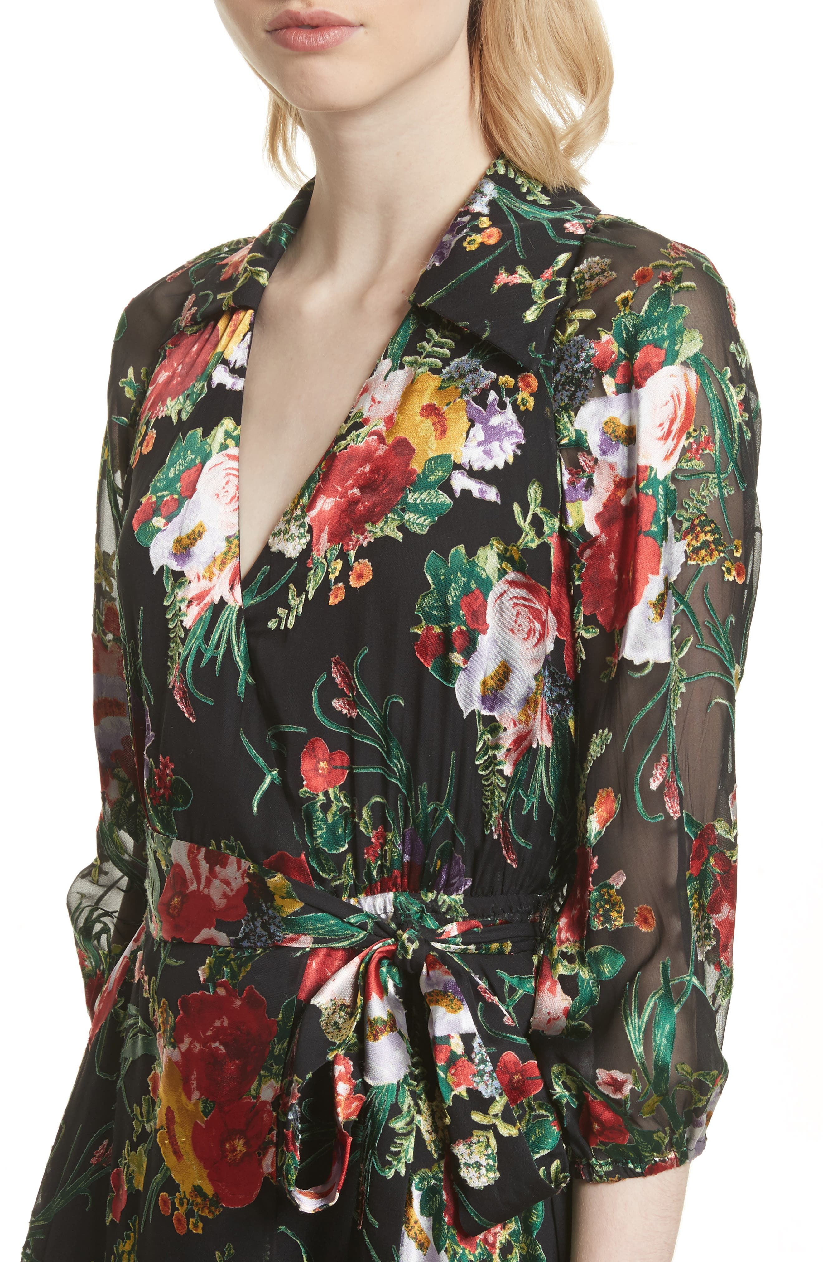 Abney Floral Wrap Shirtdress,                             Alternate thumbnail 4, color,                             Blooming Bouquet