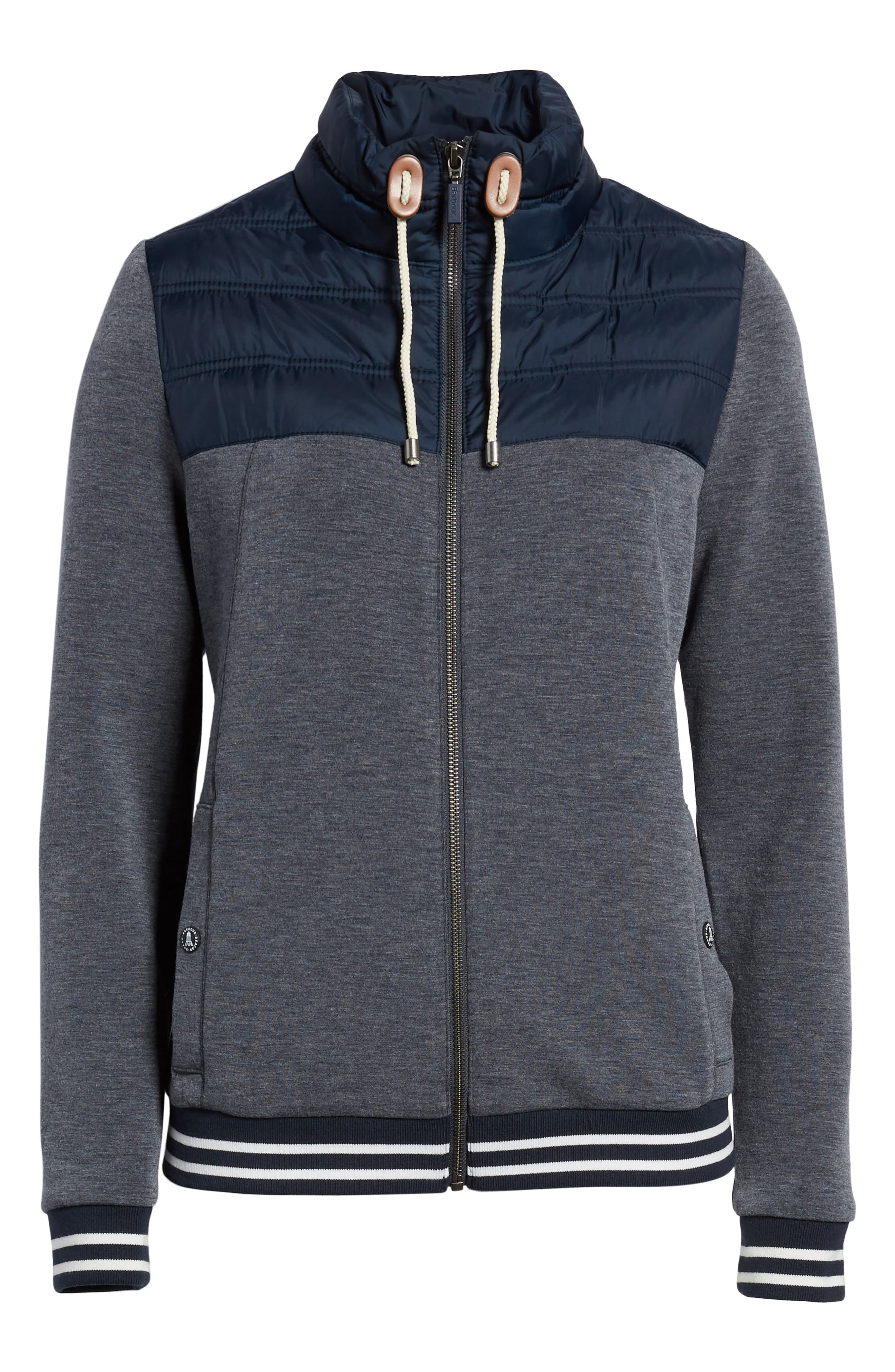 Selsey Zip Sweater,                             Alternate thumbnail 6, color,                             Navy Marl