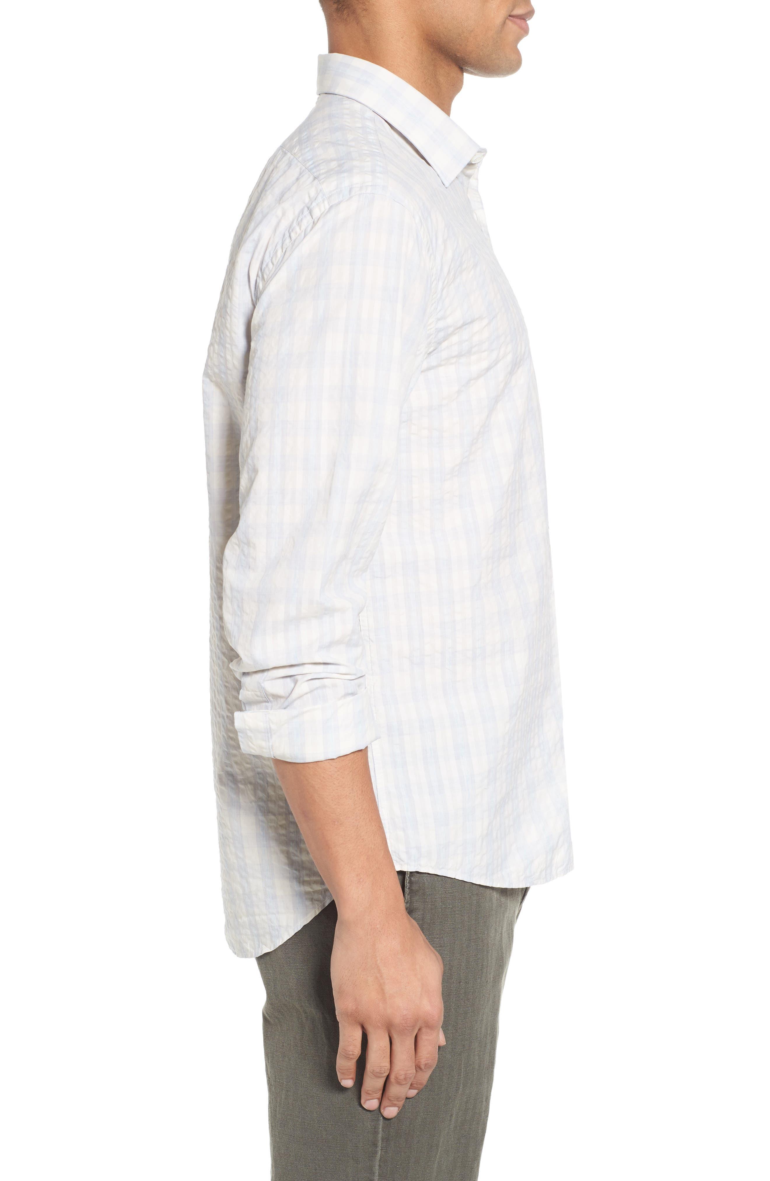 Aubergine Stripe Sport Shirt,                             Alternate thumbnail 3, color,                             White