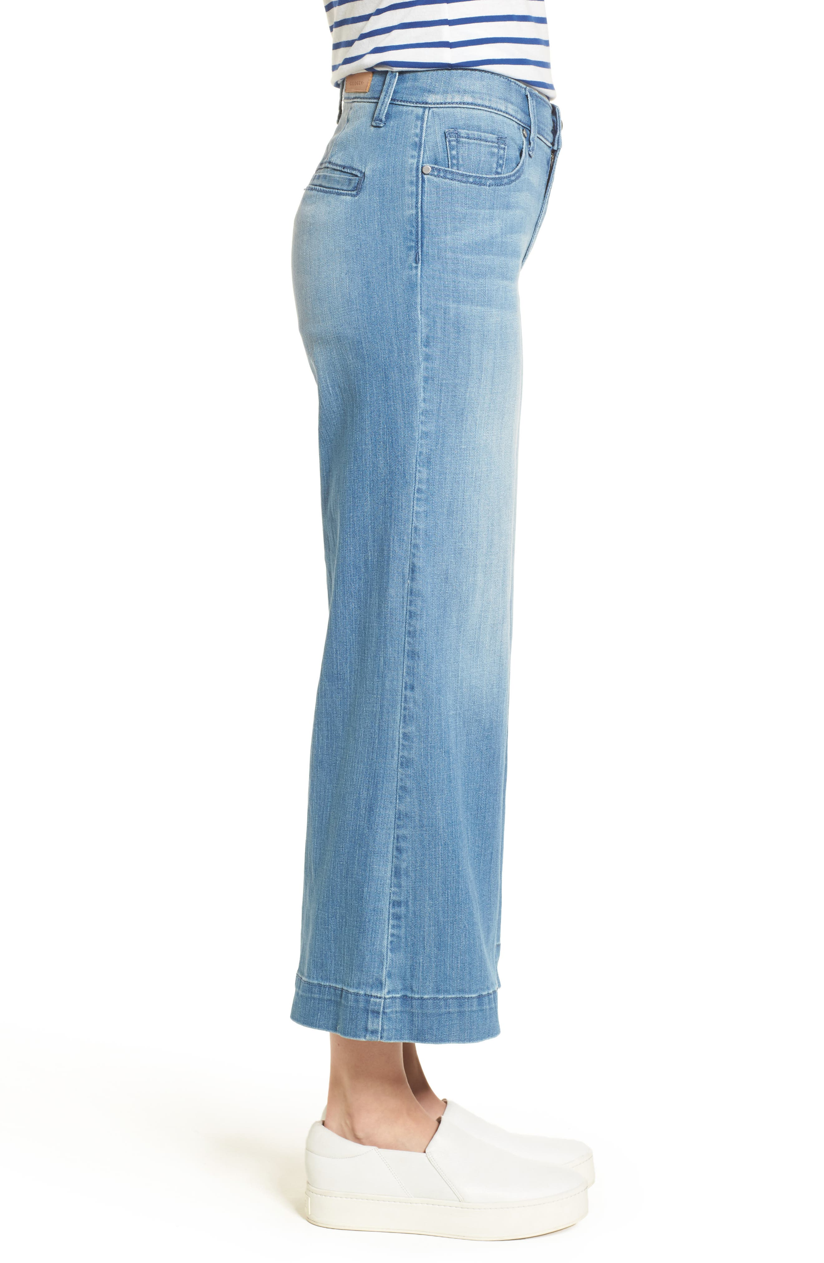 Wide Leg Cropped Jeans,                             Alternate thumbnail 4, color,                             Modern Wash
