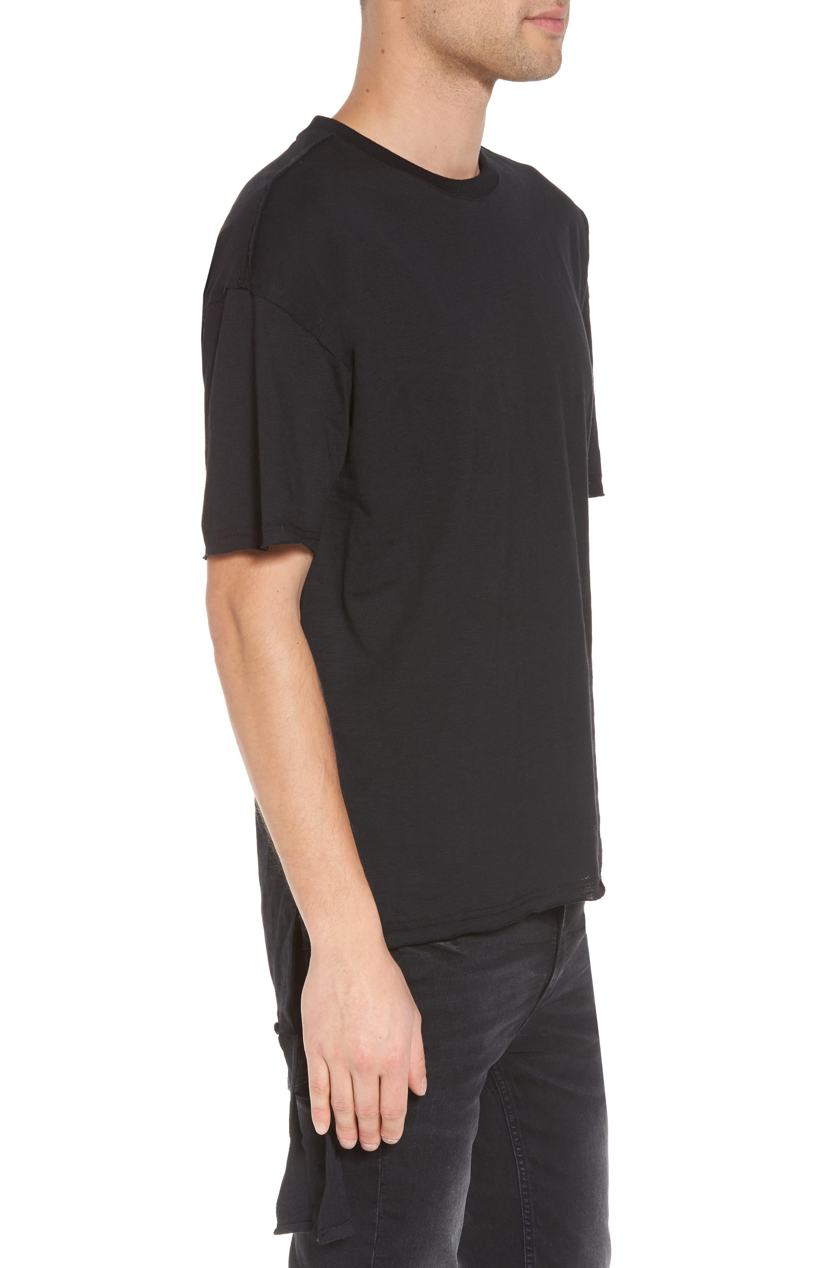 Raw Edge Strapped T-Shirt,                             Alternate thumbnail 3, color,                             Black Rock