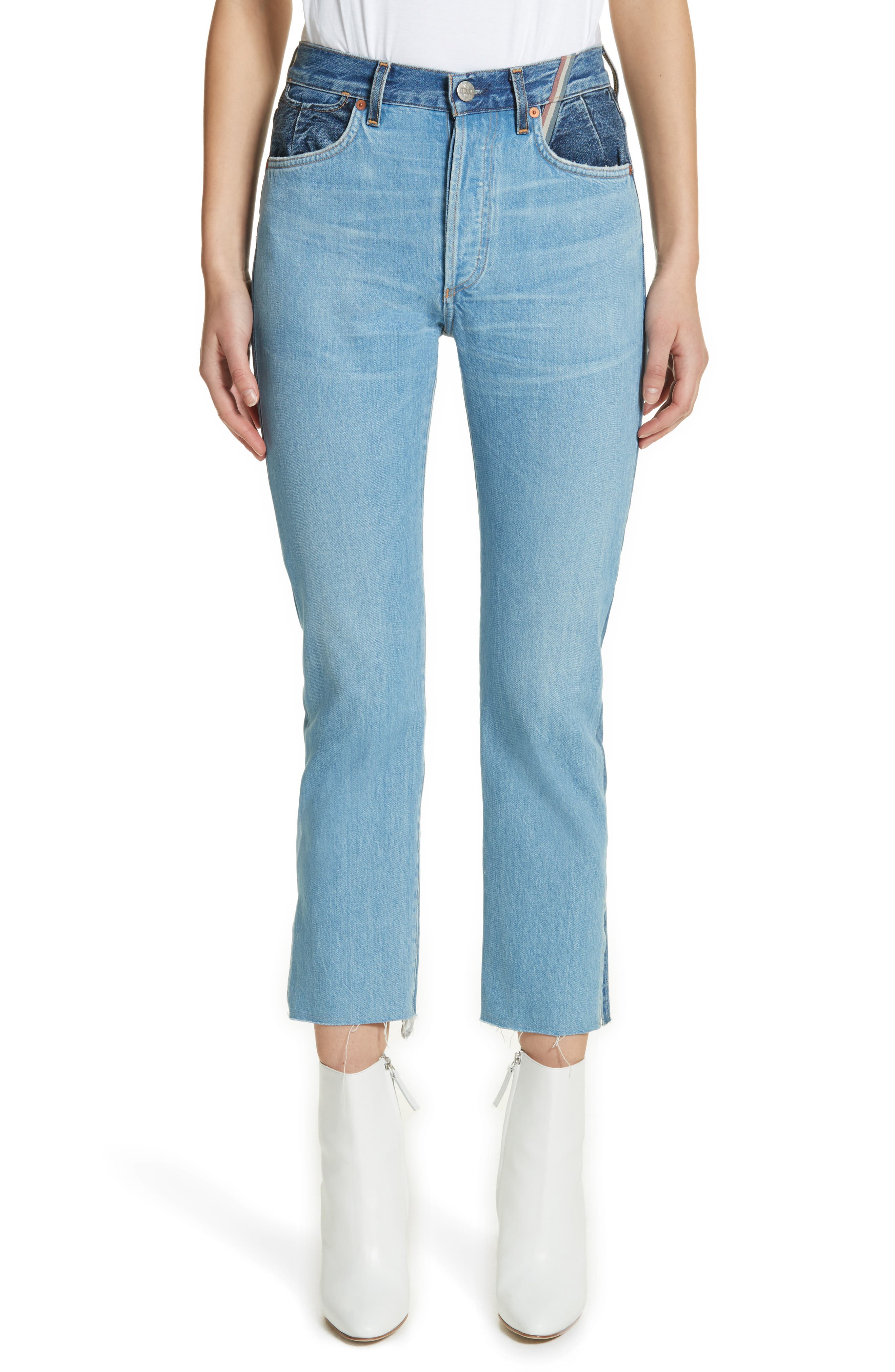 Hunter High Rise Straight Leg Crop Jeans,                             Main thumbnail 1, color,                             Jagger