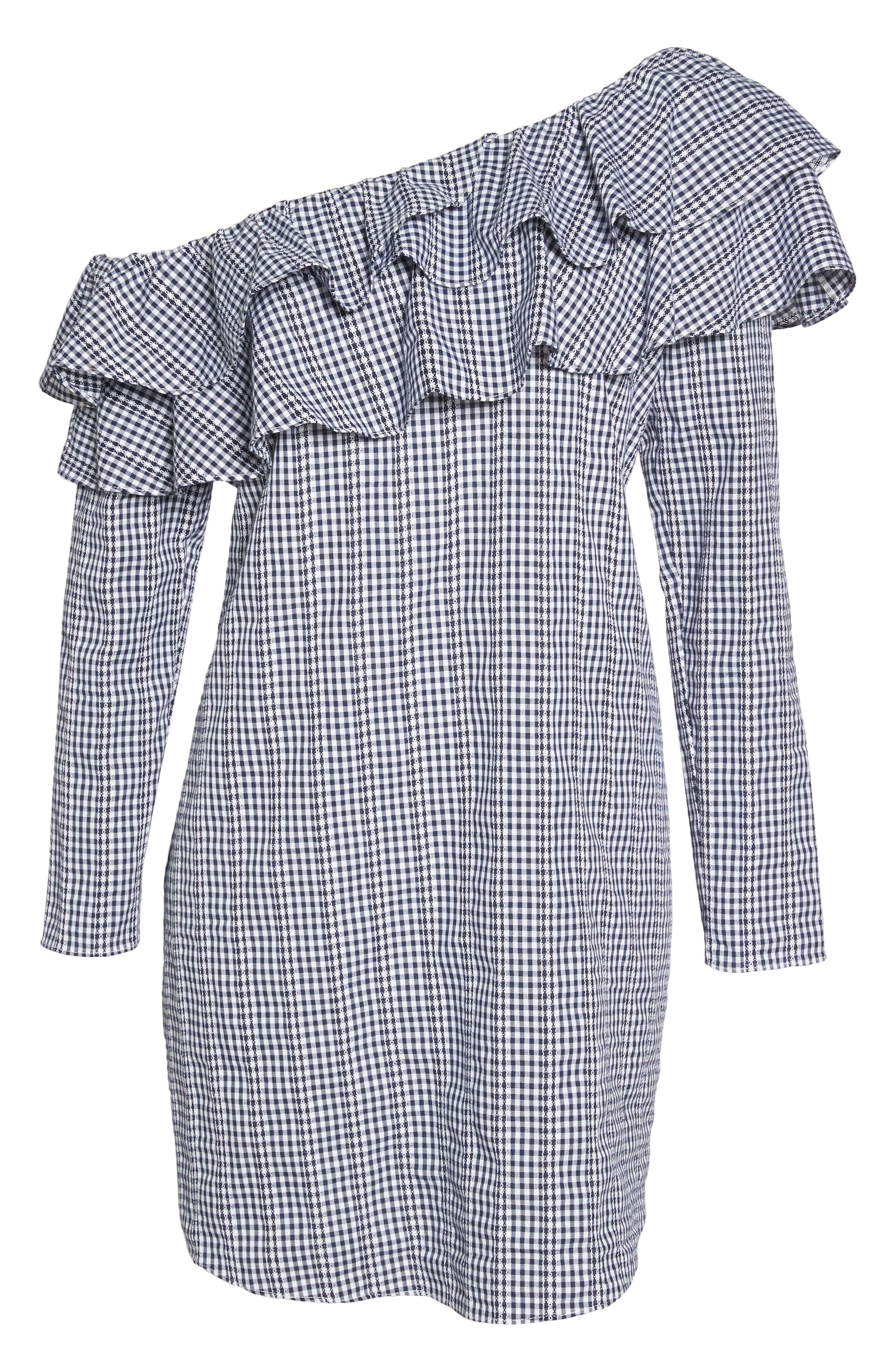 Gingham One-Shoulder Ruffle Dress,                             Alternate thumbnail 6, color,                             Navy