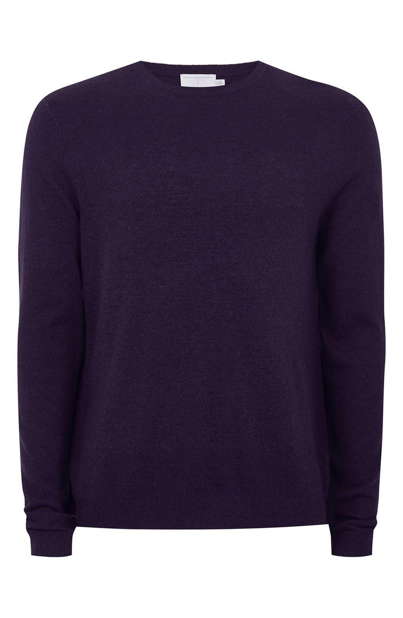 Slim Fit Crewneck Sweater,                             Alternate thumbnail 4, color,                             Dark Purple