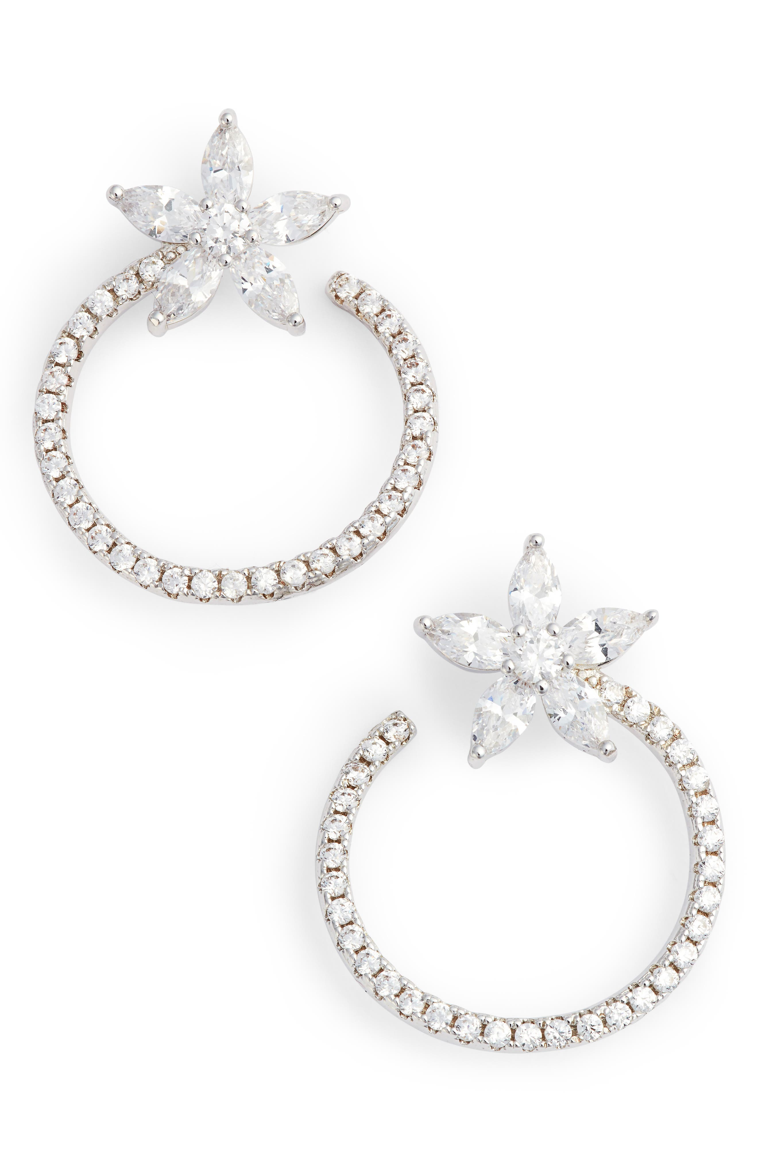 Front to Back Floral Hoop Earrings,                             Main thumbnail 1, color,                             Silver/ White Cz