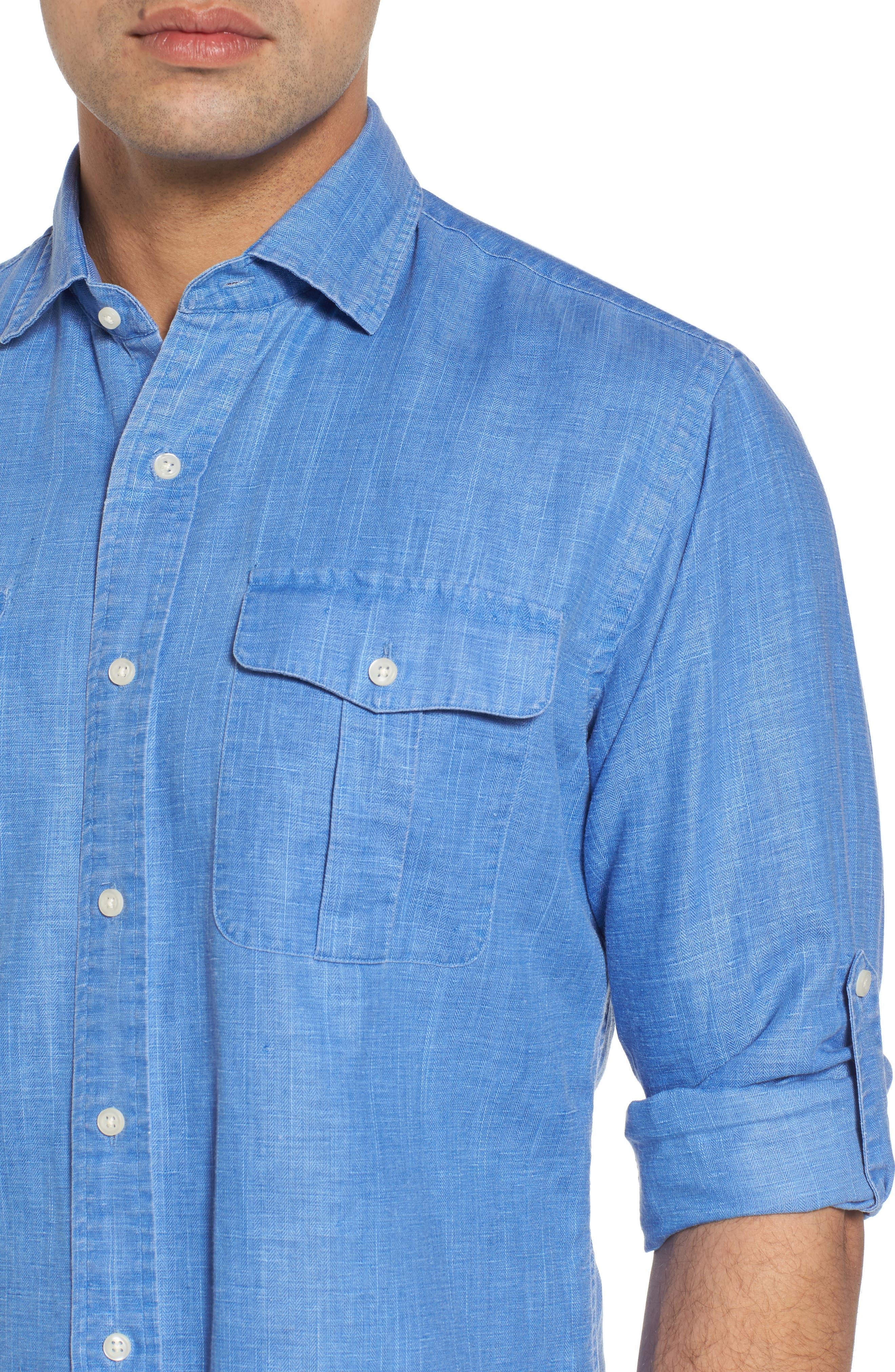 Alternate Image 4  - Peter Millar Harkers Regular Fit Herringbone Sport Shirt