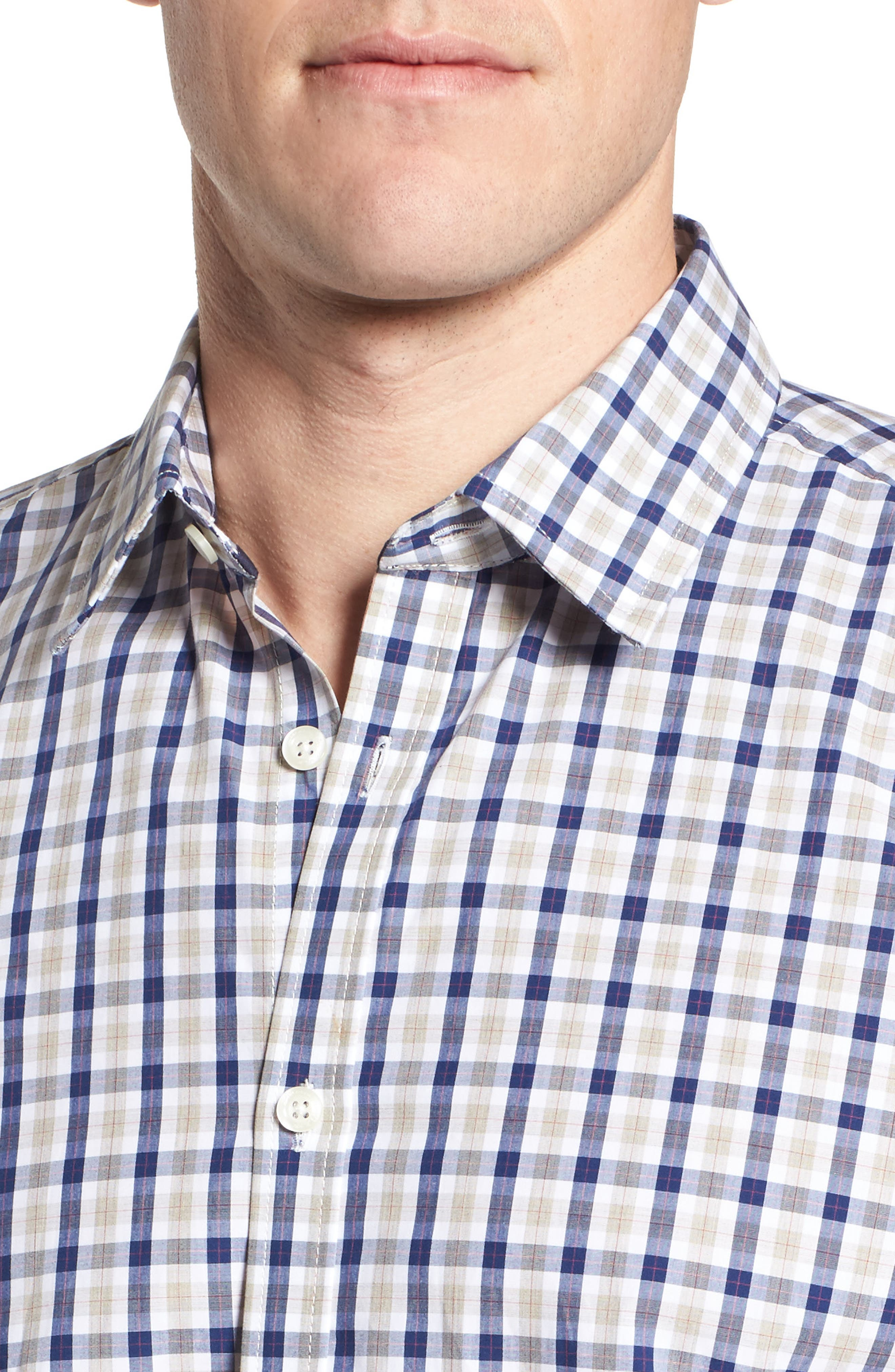 Fitted Plaid Sport Shirt,                             Alternate thumbnail 4, color,                             Dark Blue