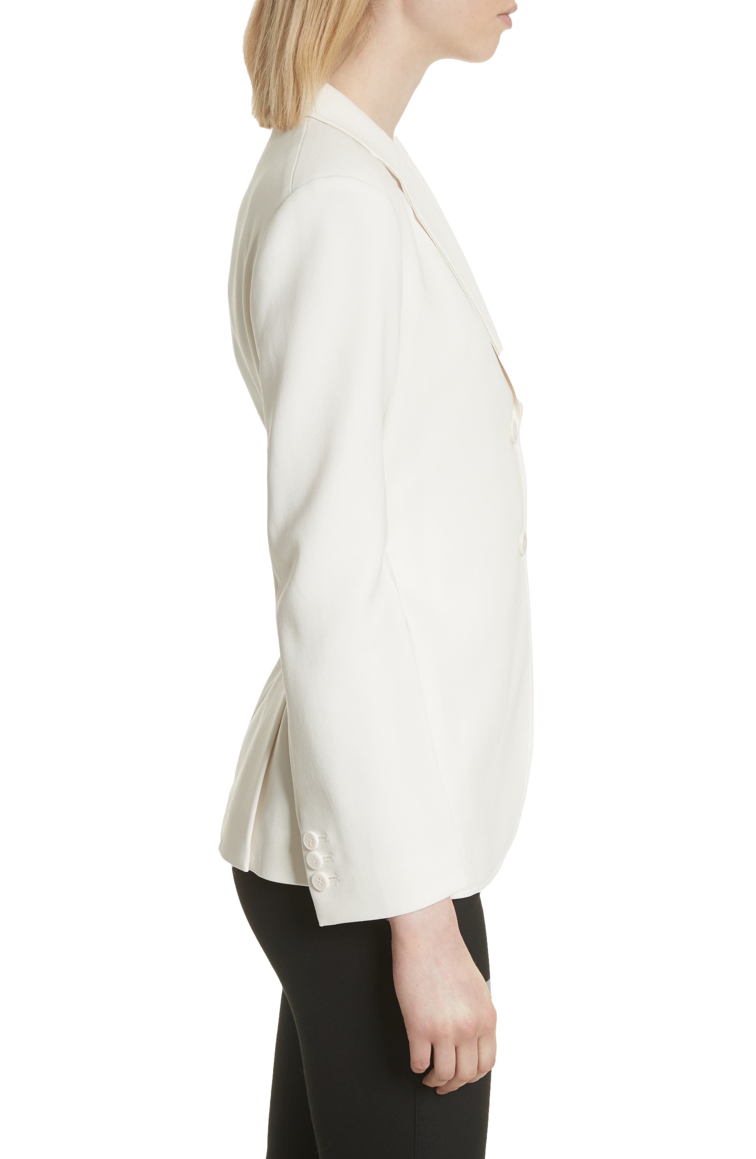 Admiral Crepe Lace-Up Suit Jacket,                             Alternate thumbnail 3, color,                             Warm Ivory