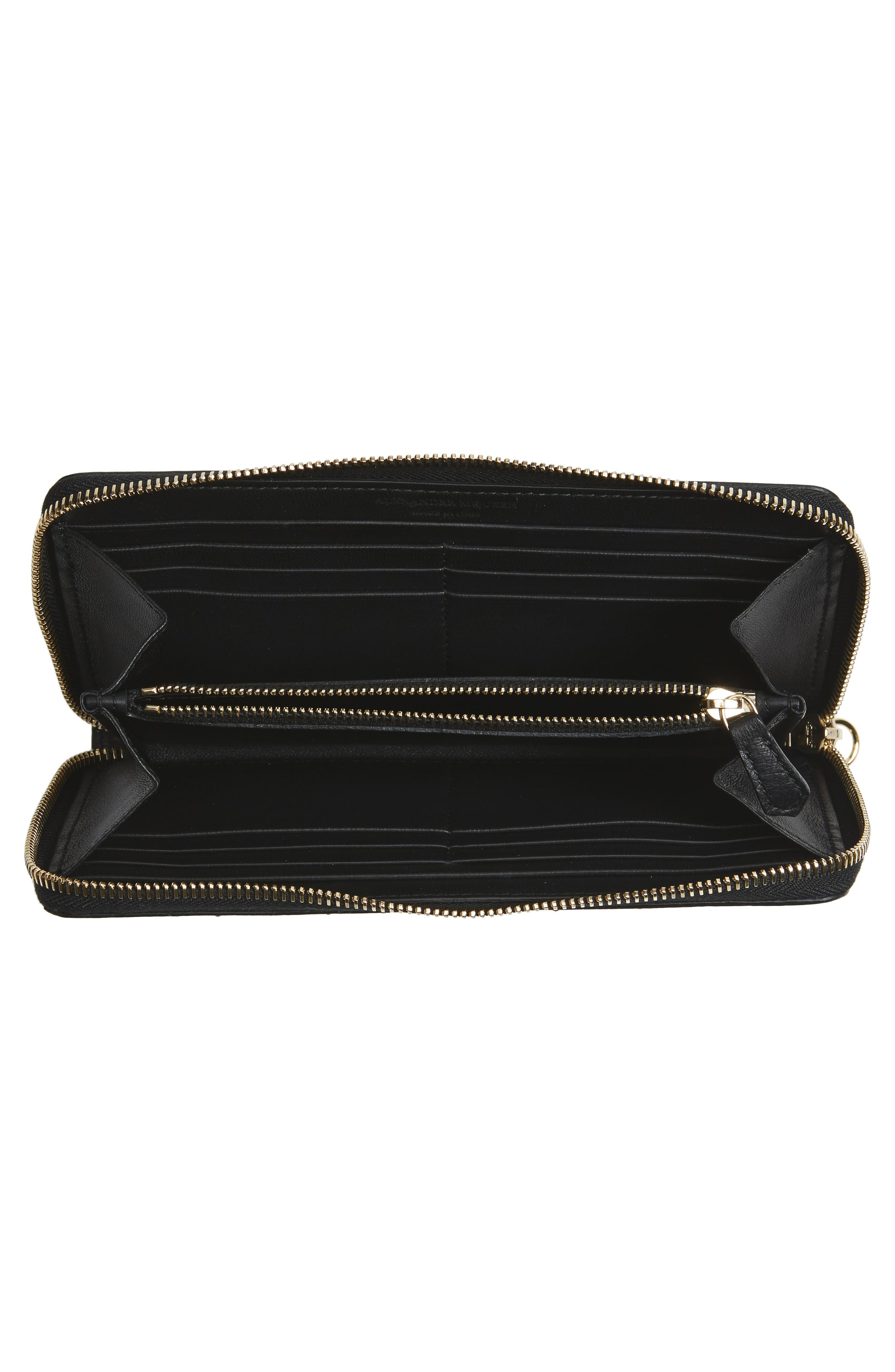 Studded Leather Continental Wallet,                             Alternate thumbnail 2, color,                             Black