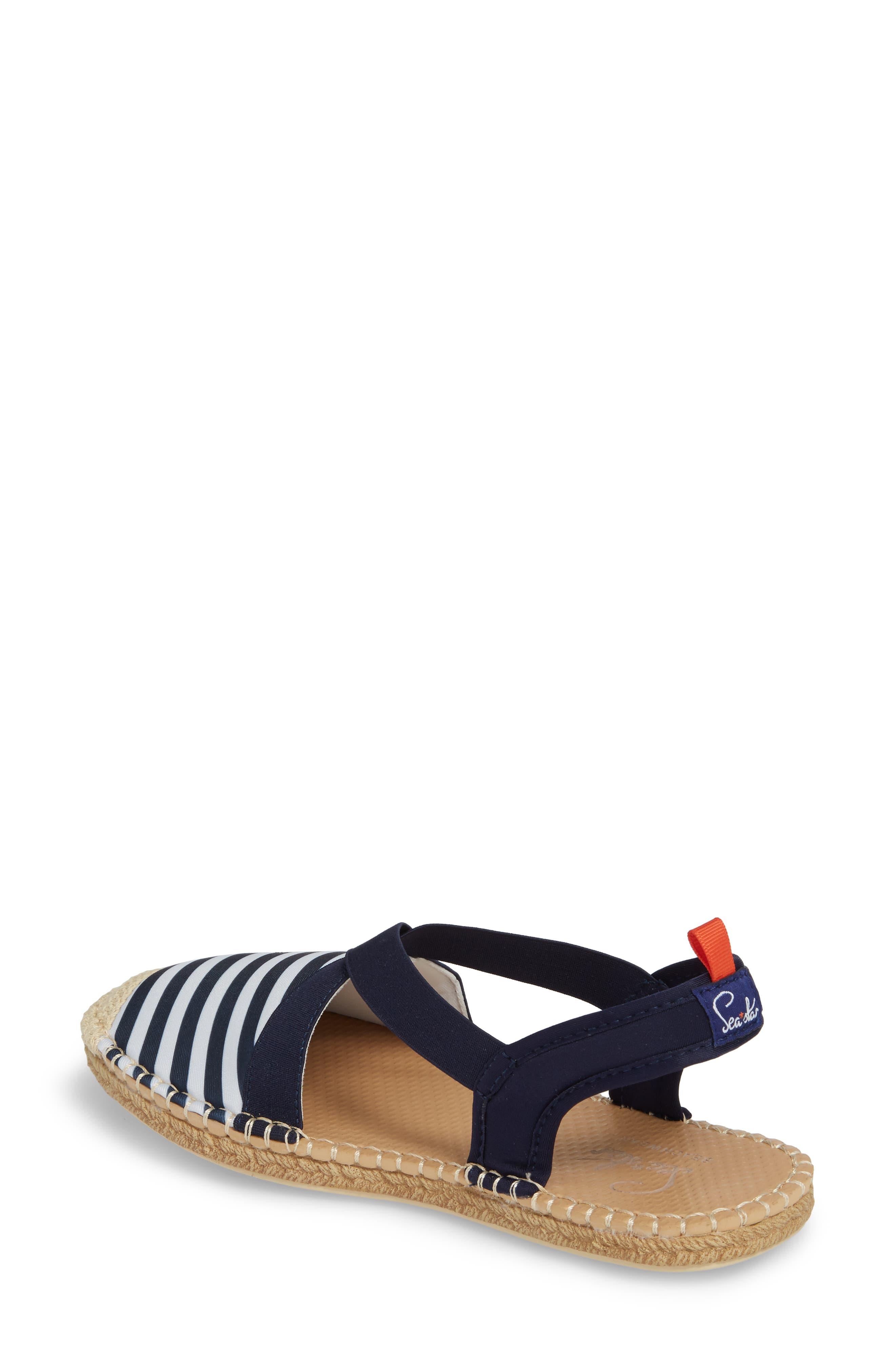 Sea Star Slingback Espadrille Water Shoe,                             Alternate thumbnail 2, color,                             Navy/ White Stripes