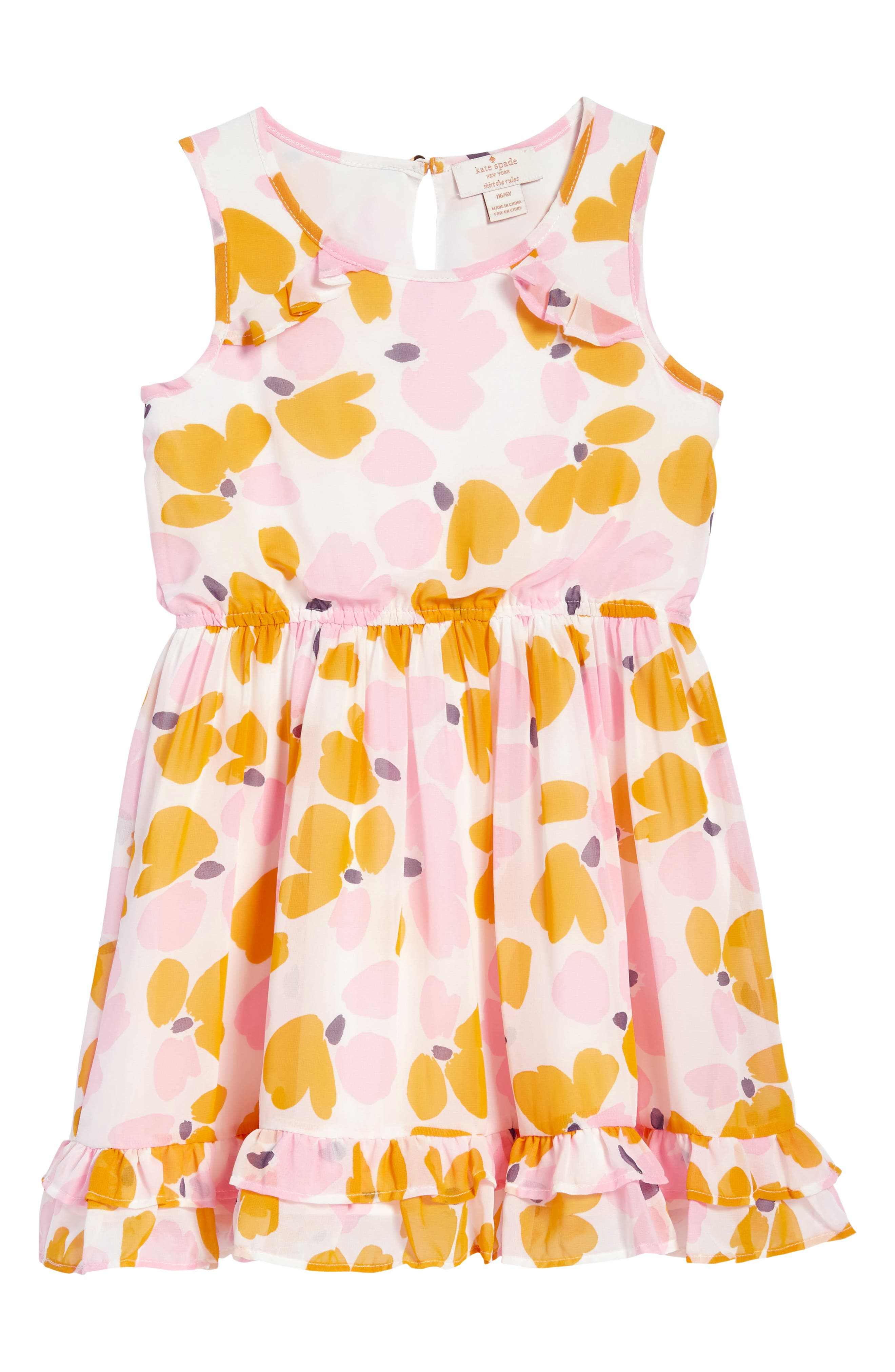 ruffle hem dress,                             Main thumbnail 1, color,                             Paint Daub Floral