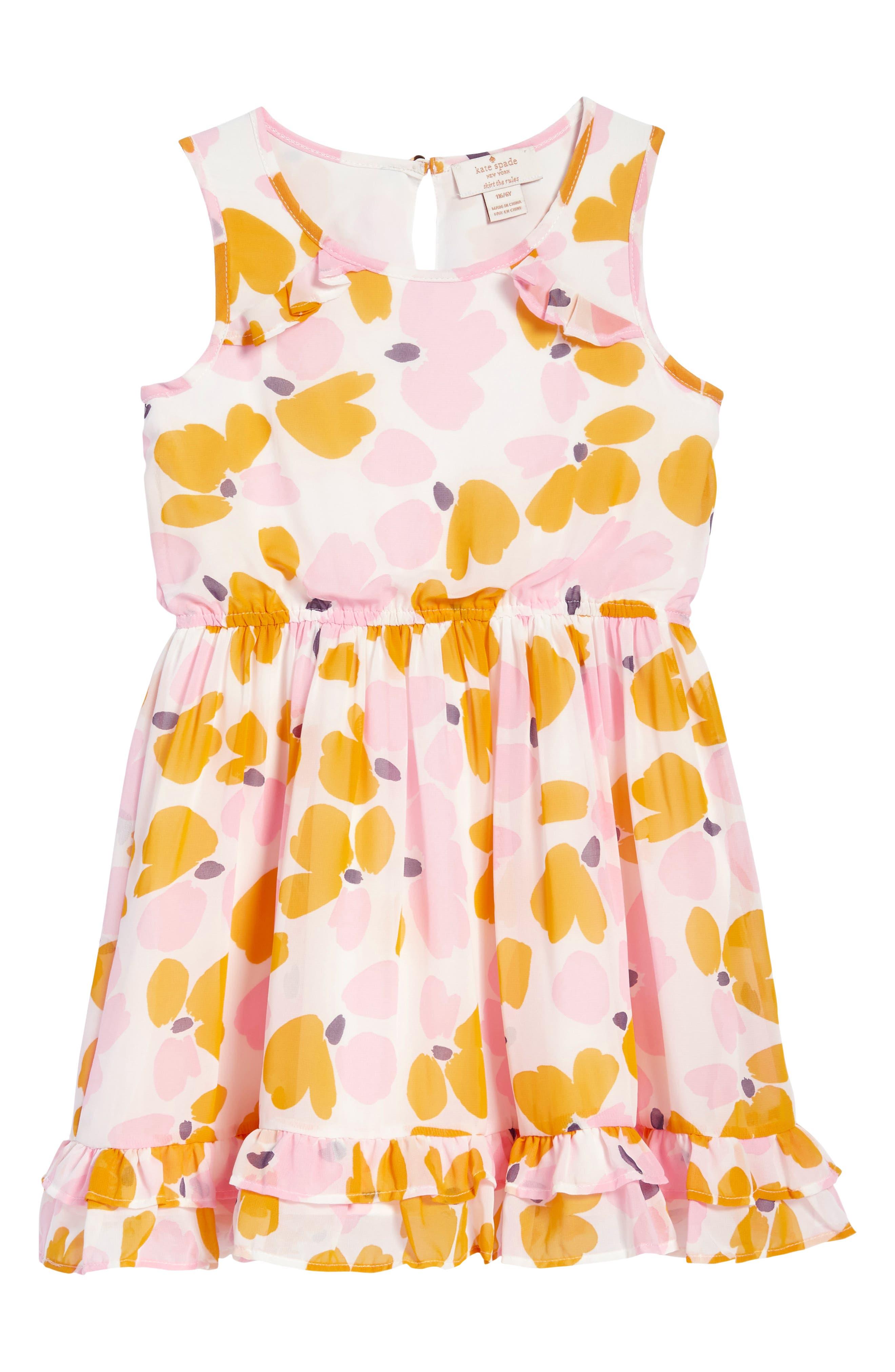 ruffle hem dress,                         Main,                         color, Paint Daub Floral