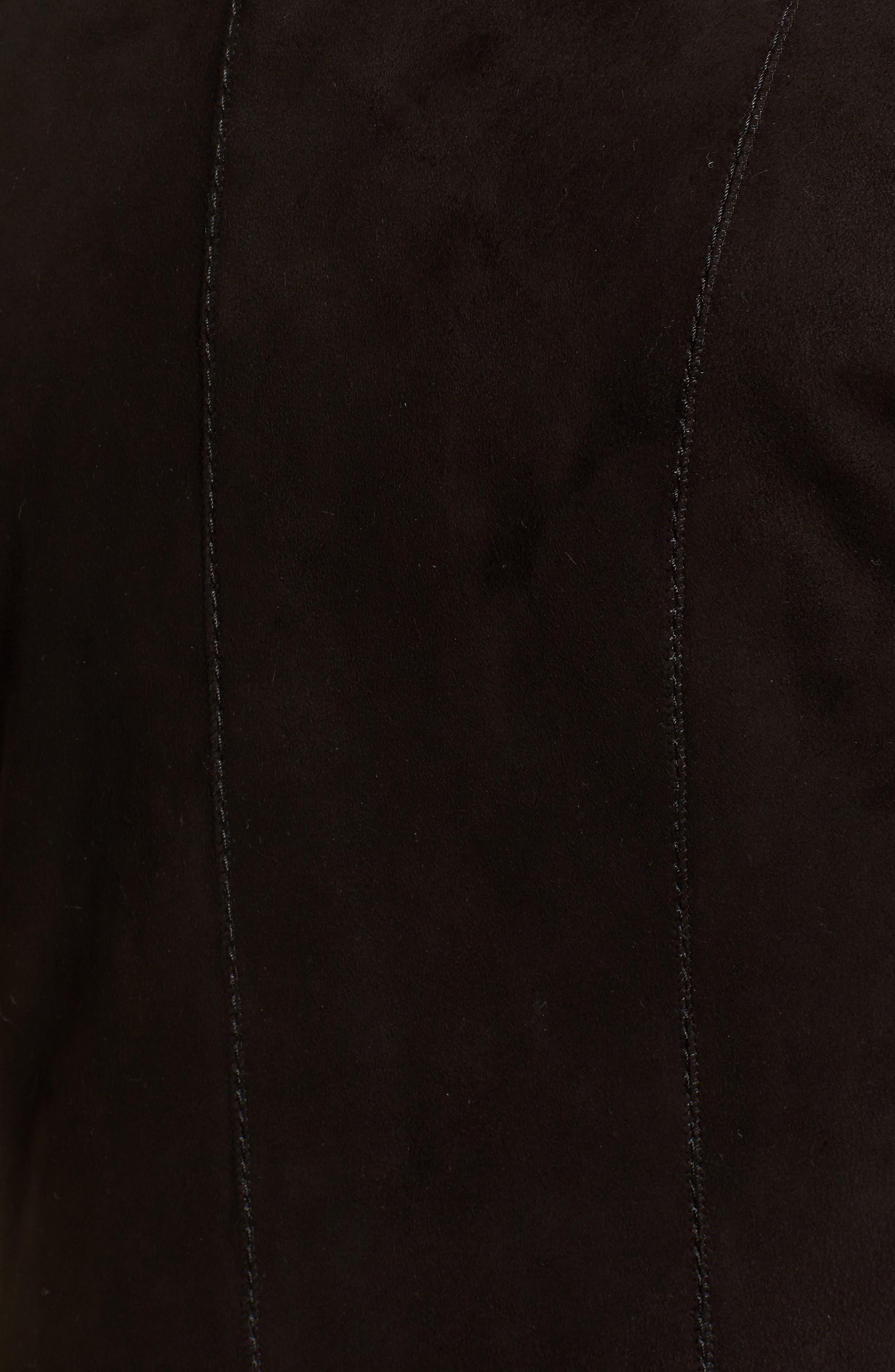 Genuine Shearling Coat,                             Alternate thumbnail 5, color,                             Black Brisa
