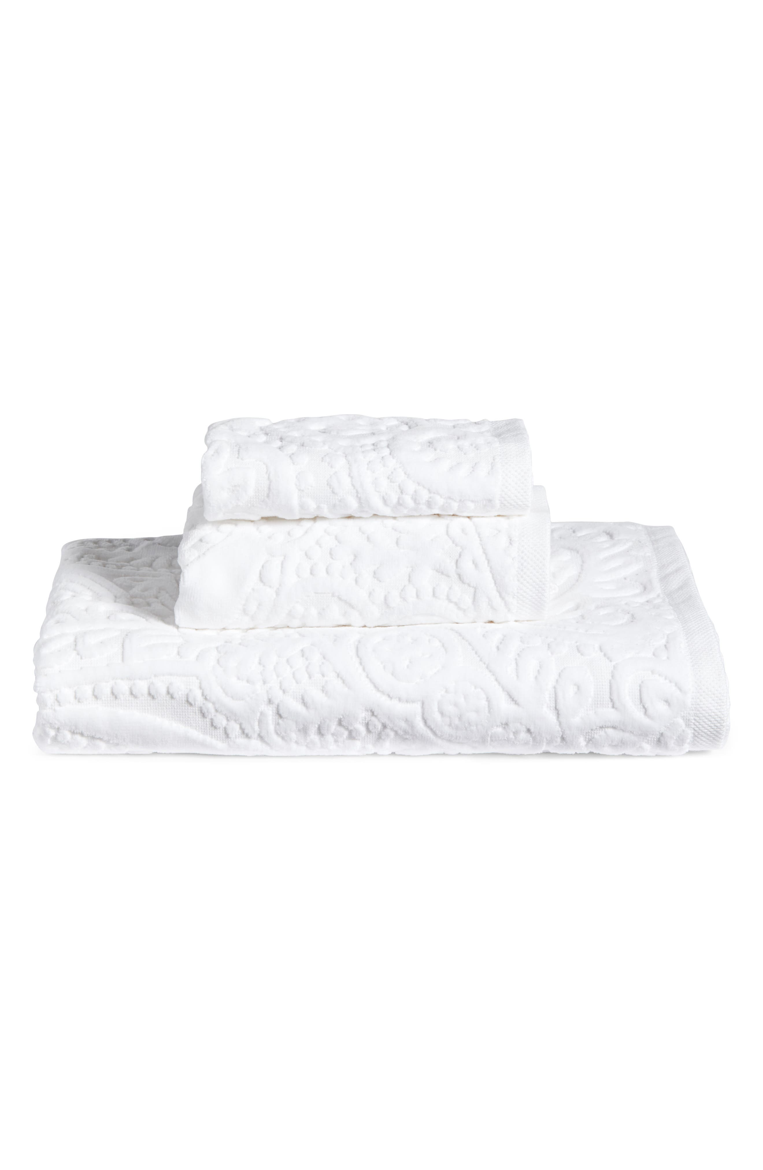 Elisa Turkish Cotton Hand Towel,                             Alternate thumbnail 3, color,                             White