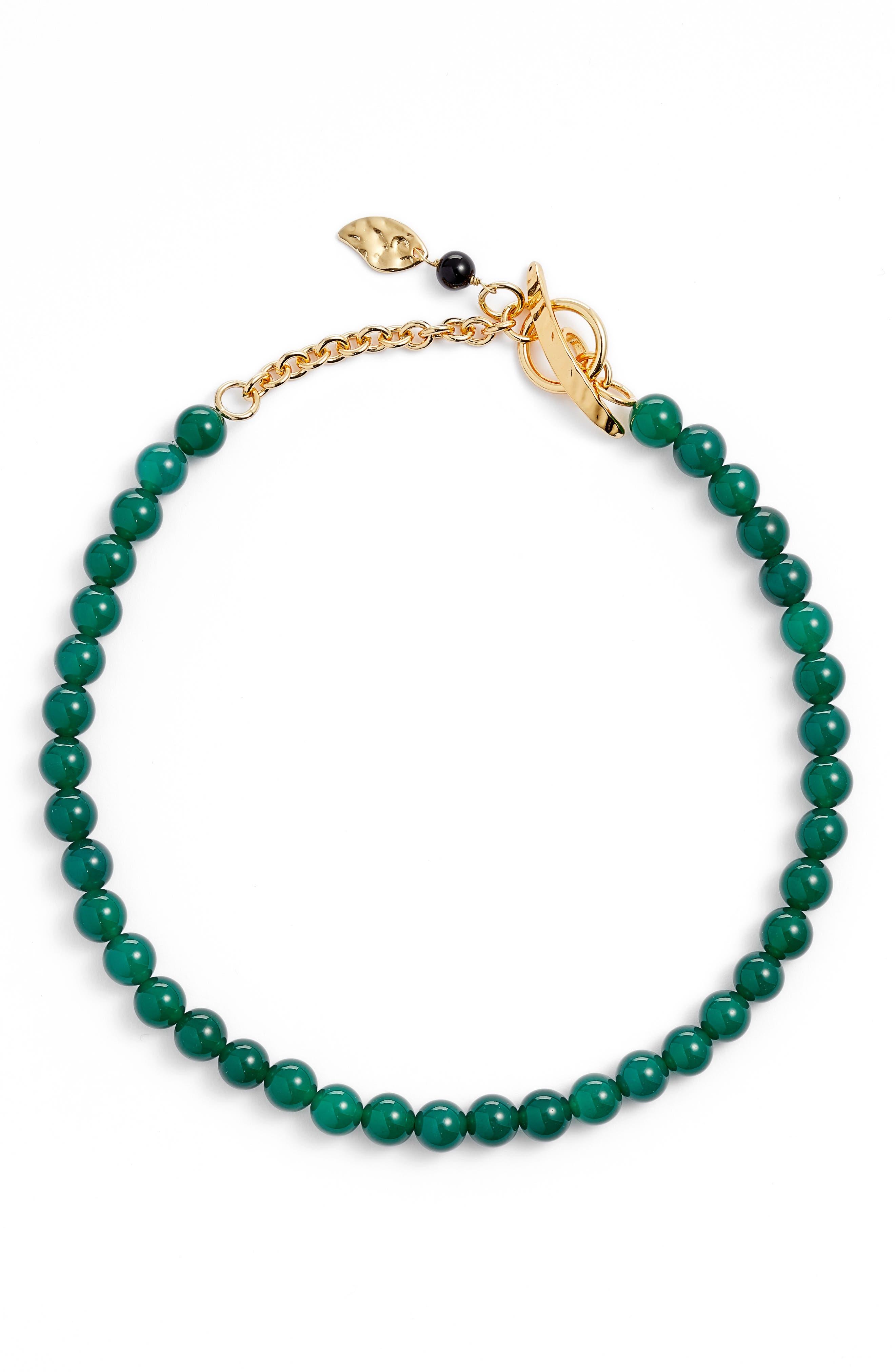 Collar Necklace,                         Main,                         color, Gold/ Jade/ Black