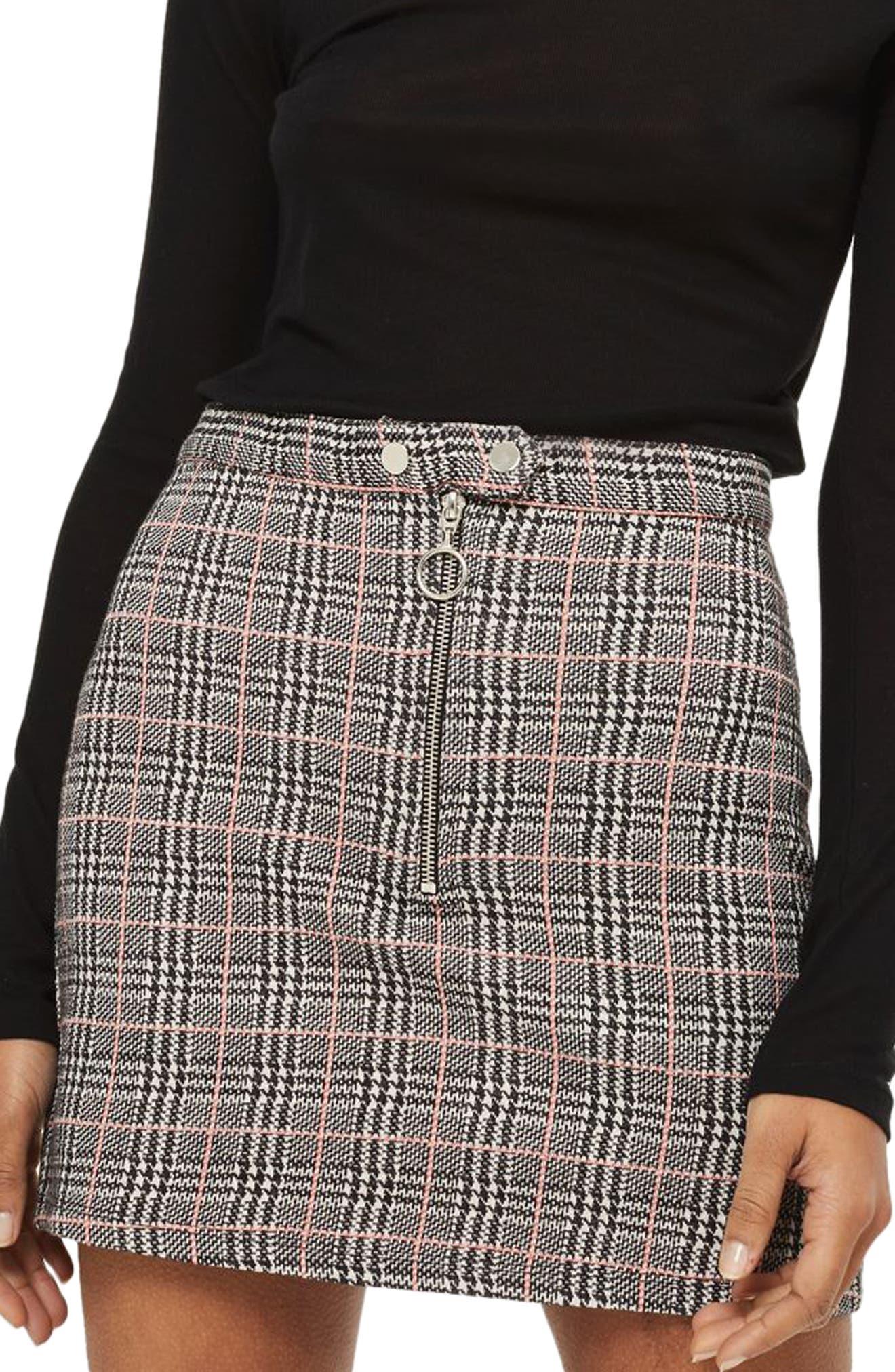 Zip Check Mini Skirt,                         Main,                         color, Grey Multi