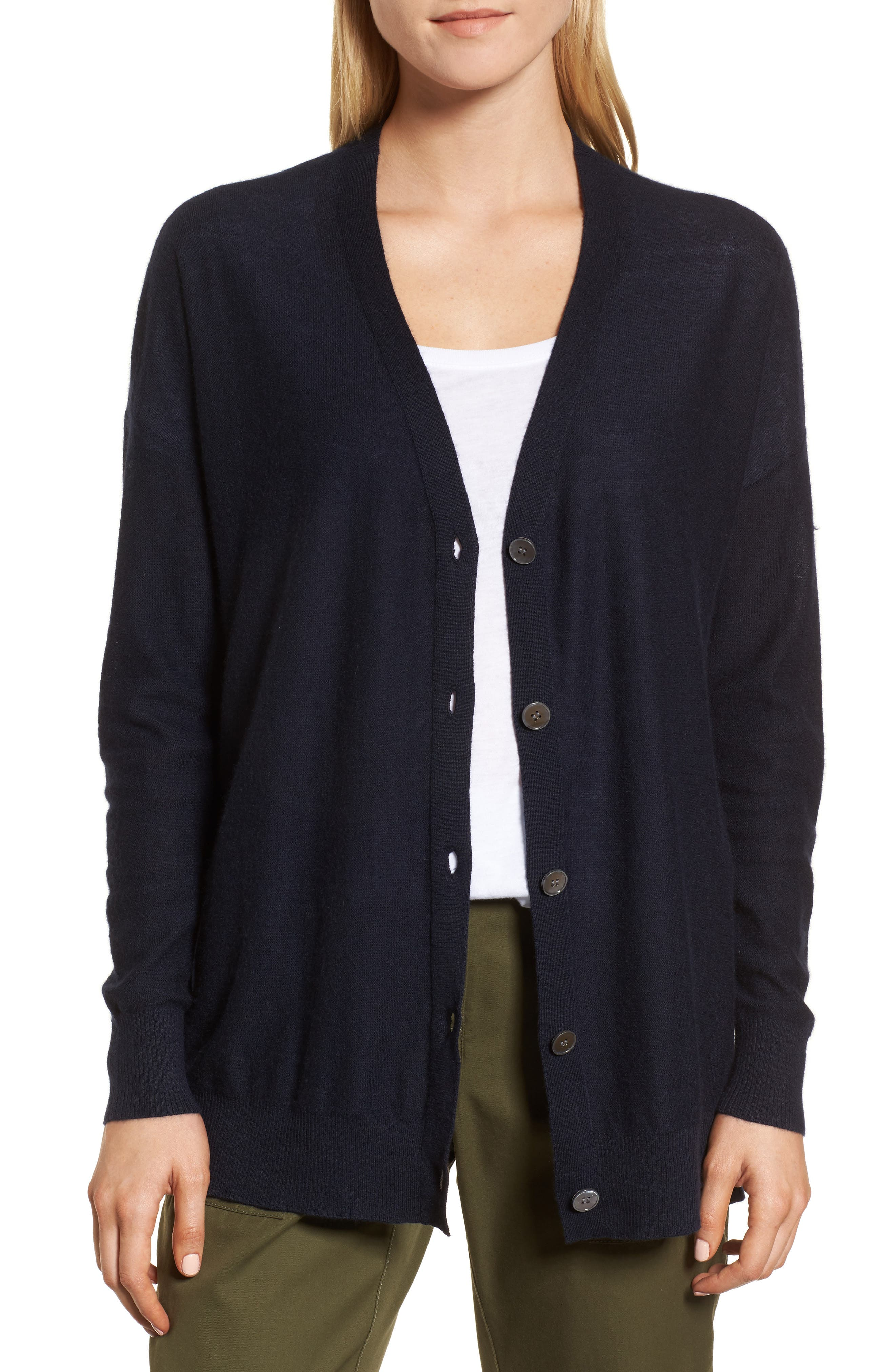Button Front Cardigan,                         Main,                         color, Navy Night