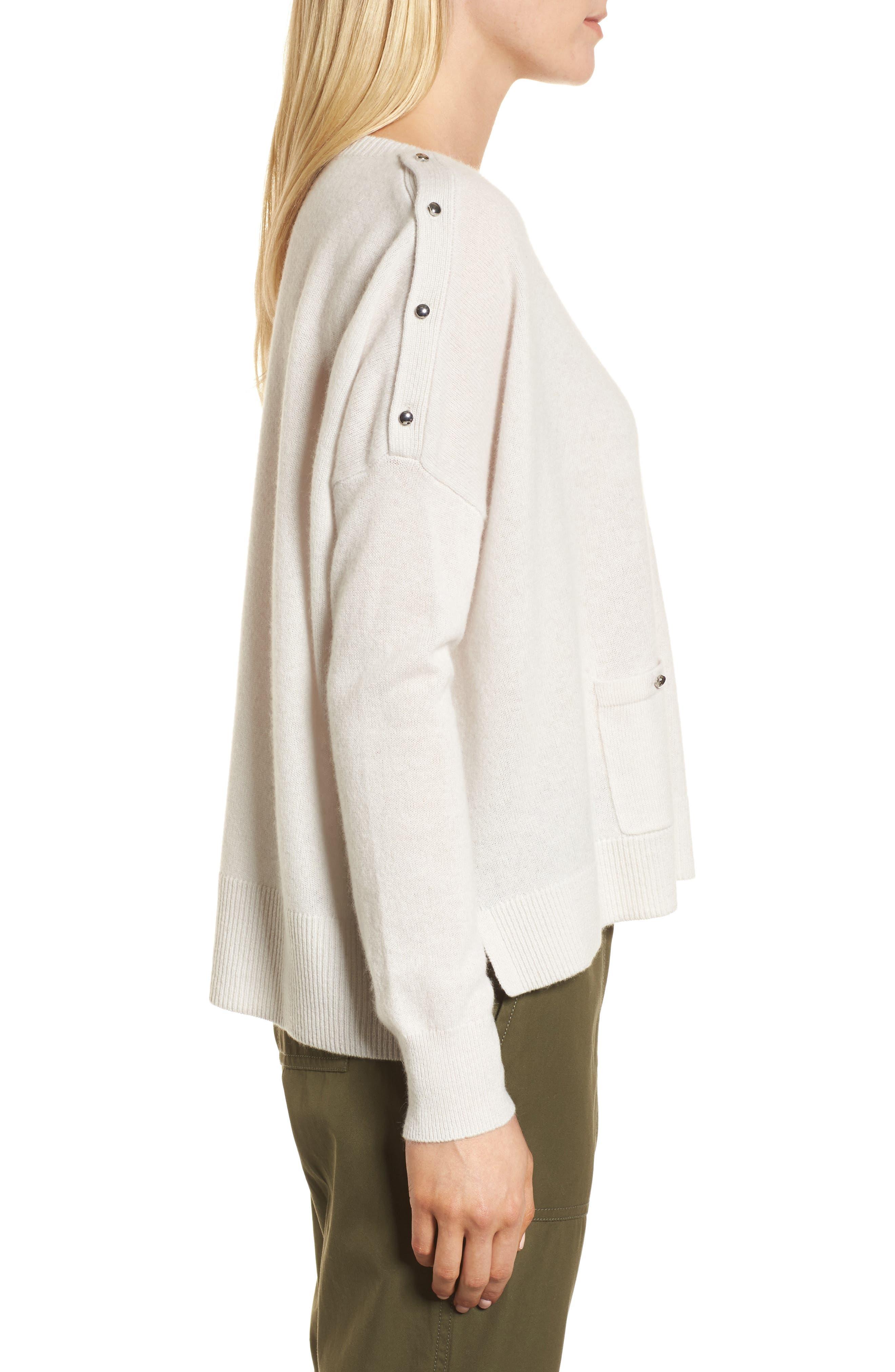 Button Detail Cashmere Sweater,                             Alternate thumbnail 3, color,                             Beige Pumice