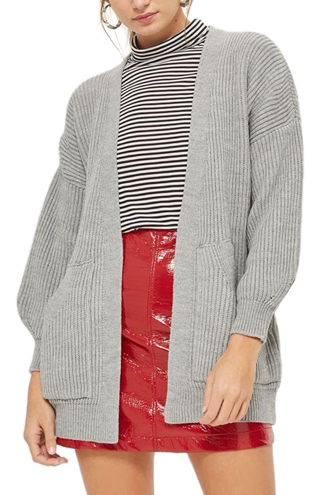 Belted Cardigan,                         Main,                         color, Grey Marl