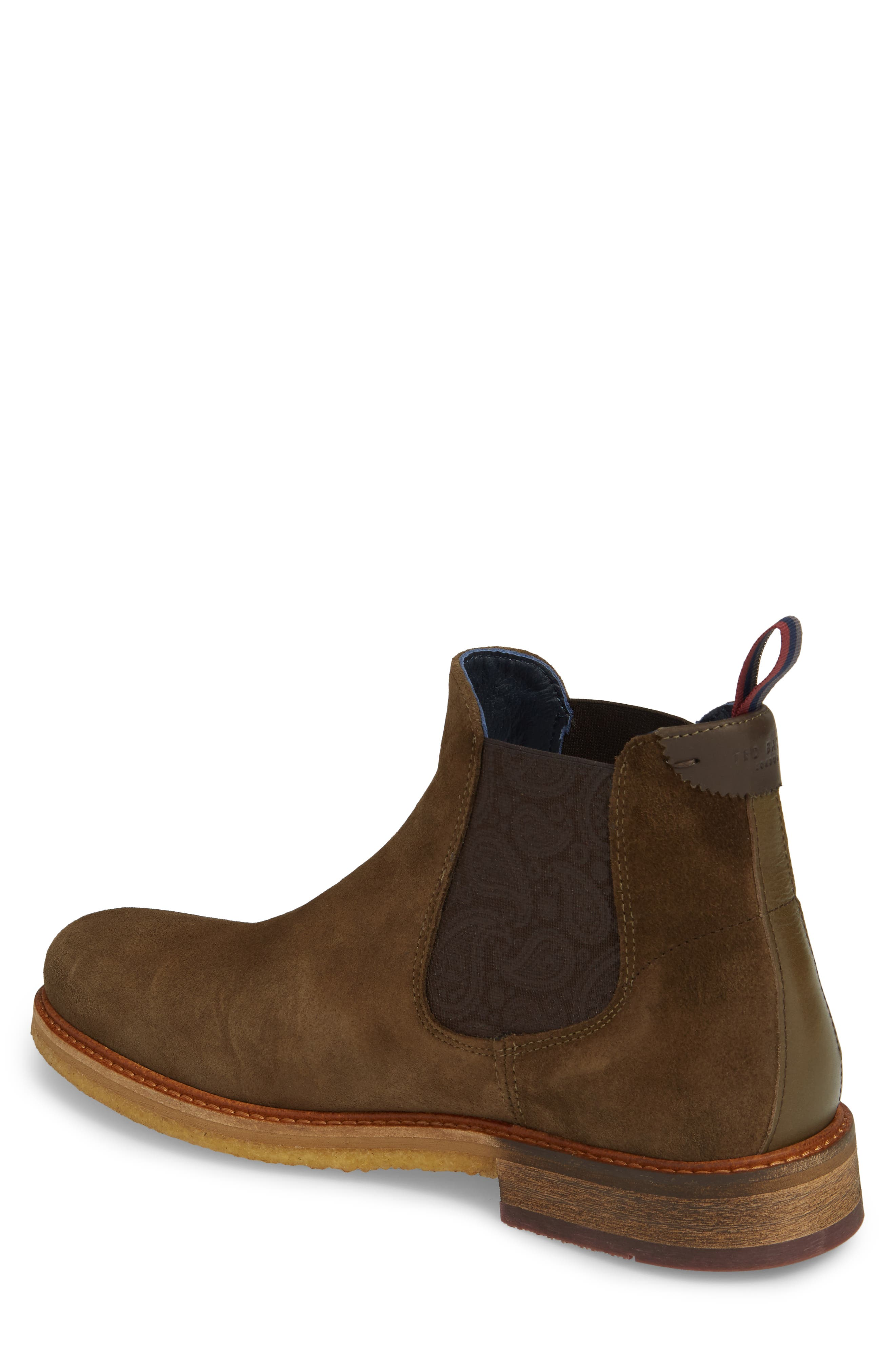 Bronzo Chelsea Boot,                             Alternate thumbnail 2, color,                             Dark Green Suede