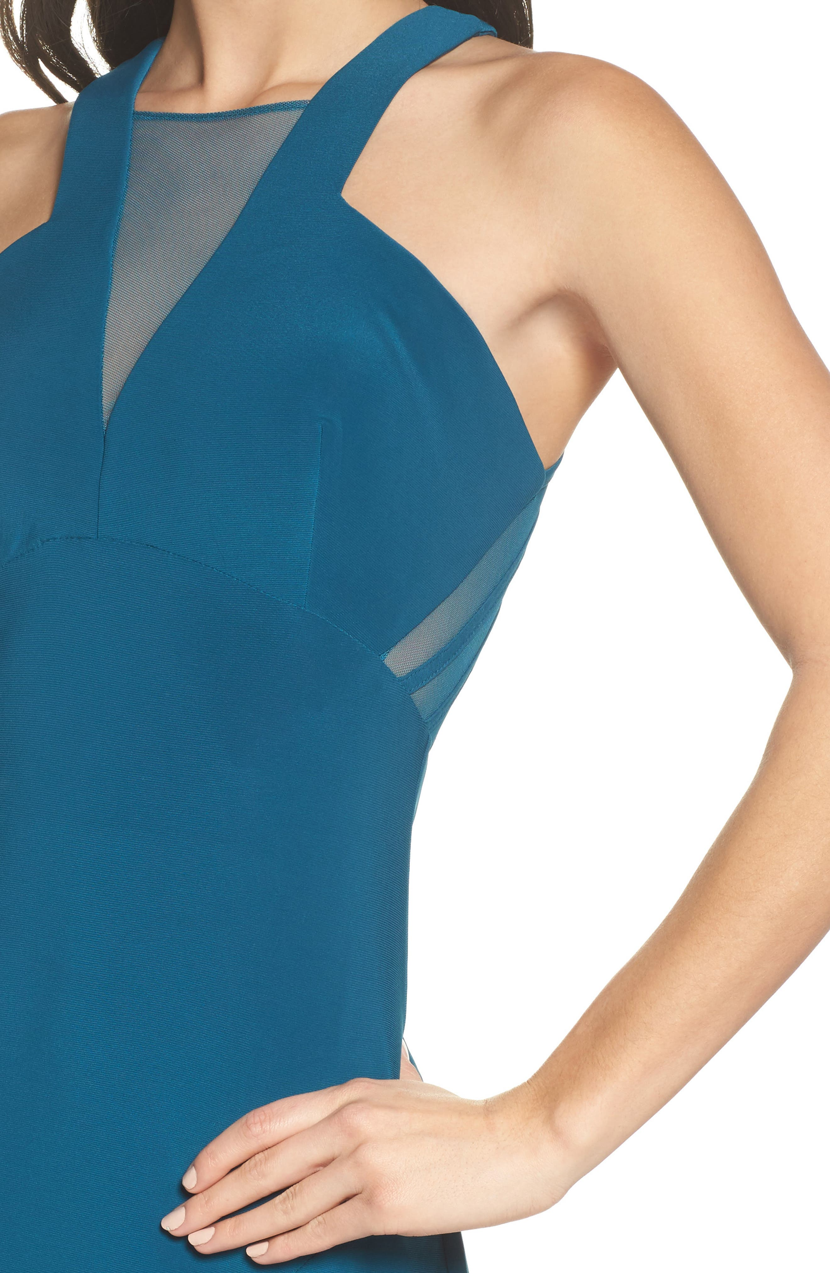 Mesh Inset Halter Gown,                             Alternate thumbnail 4, color,                             Spruce