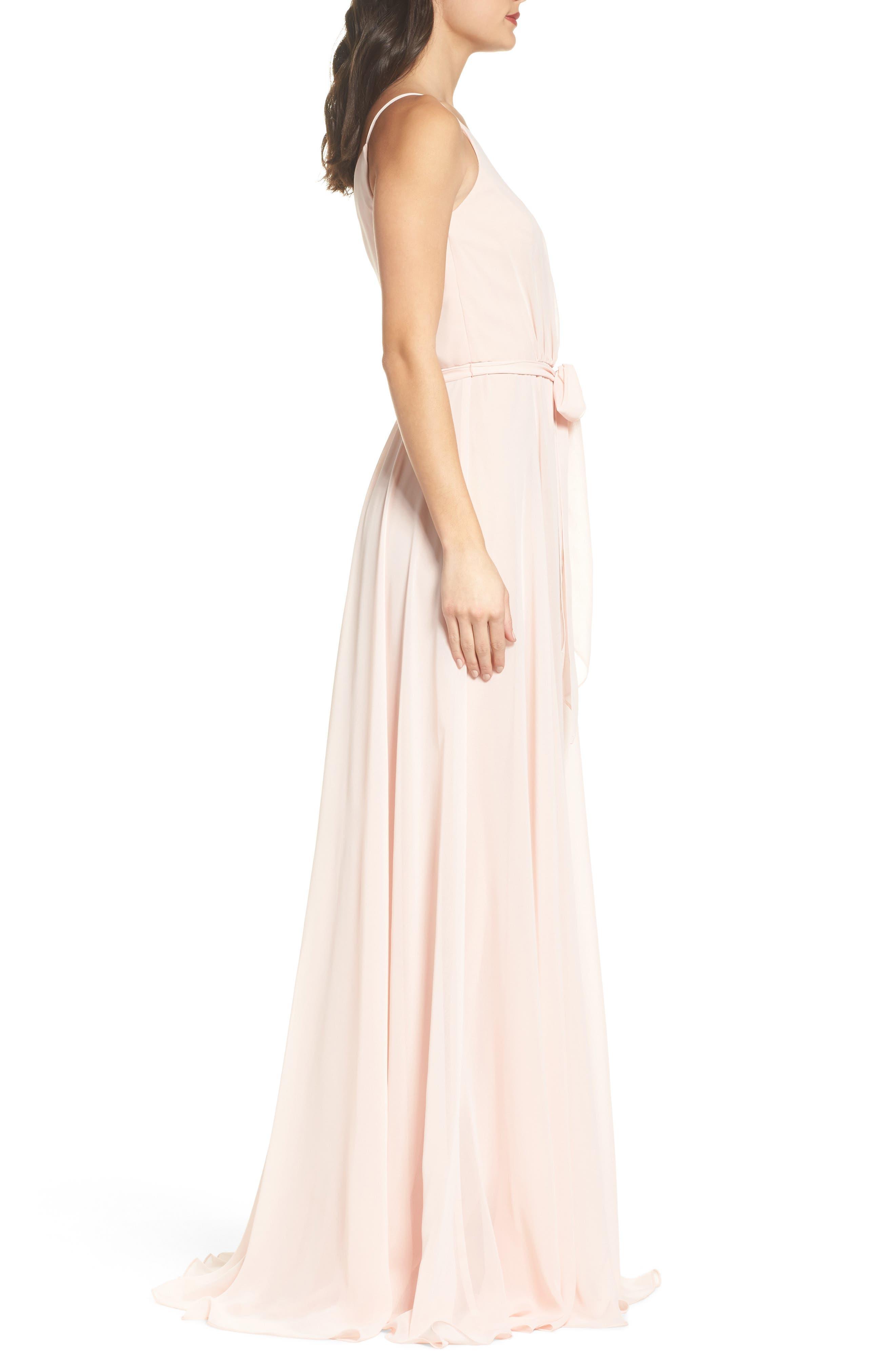Alternate Image 3  - Amsale One-Shoulder Chiffon A-Line Gown