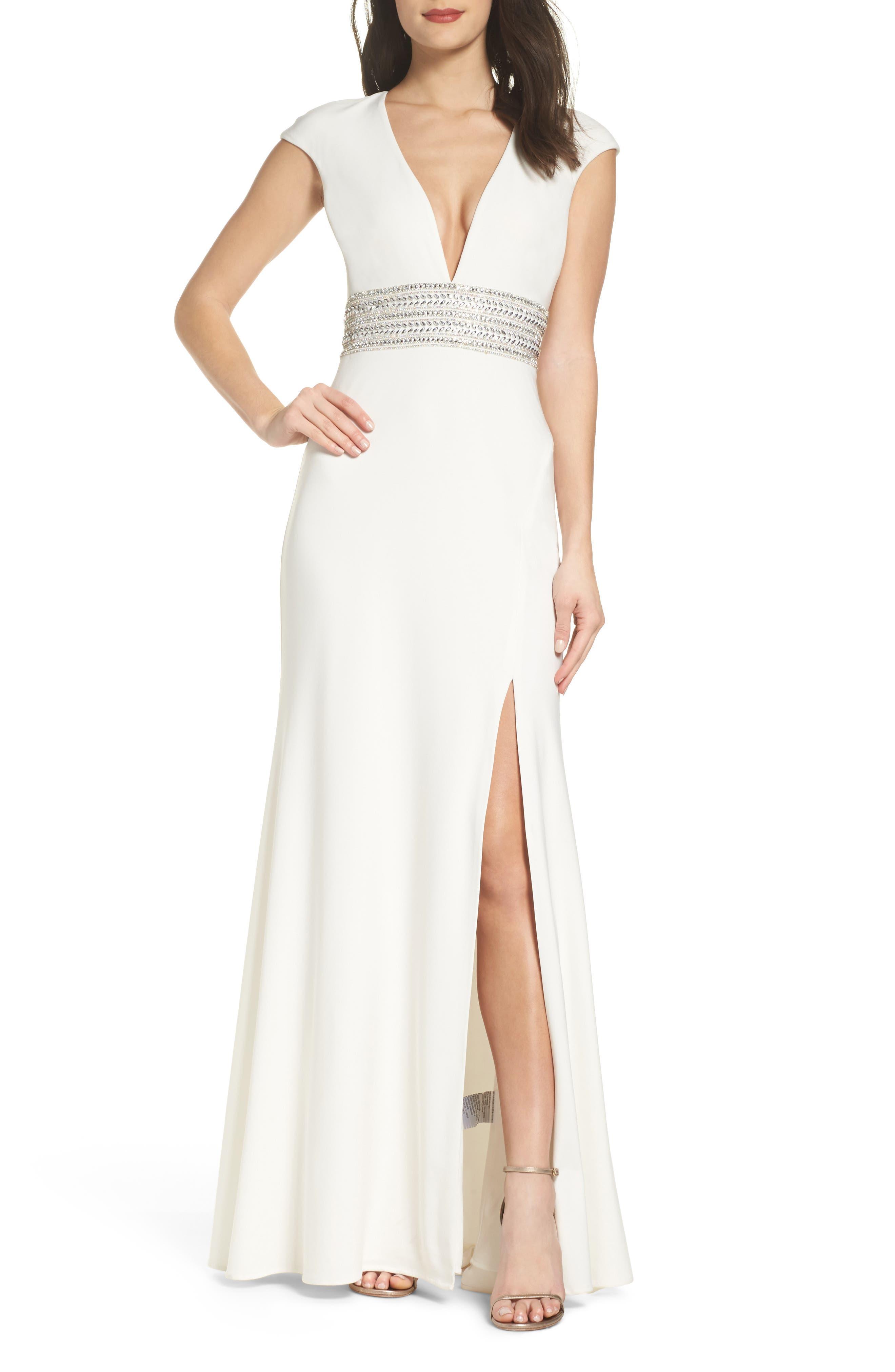 Xscape Beaded Waist Gown