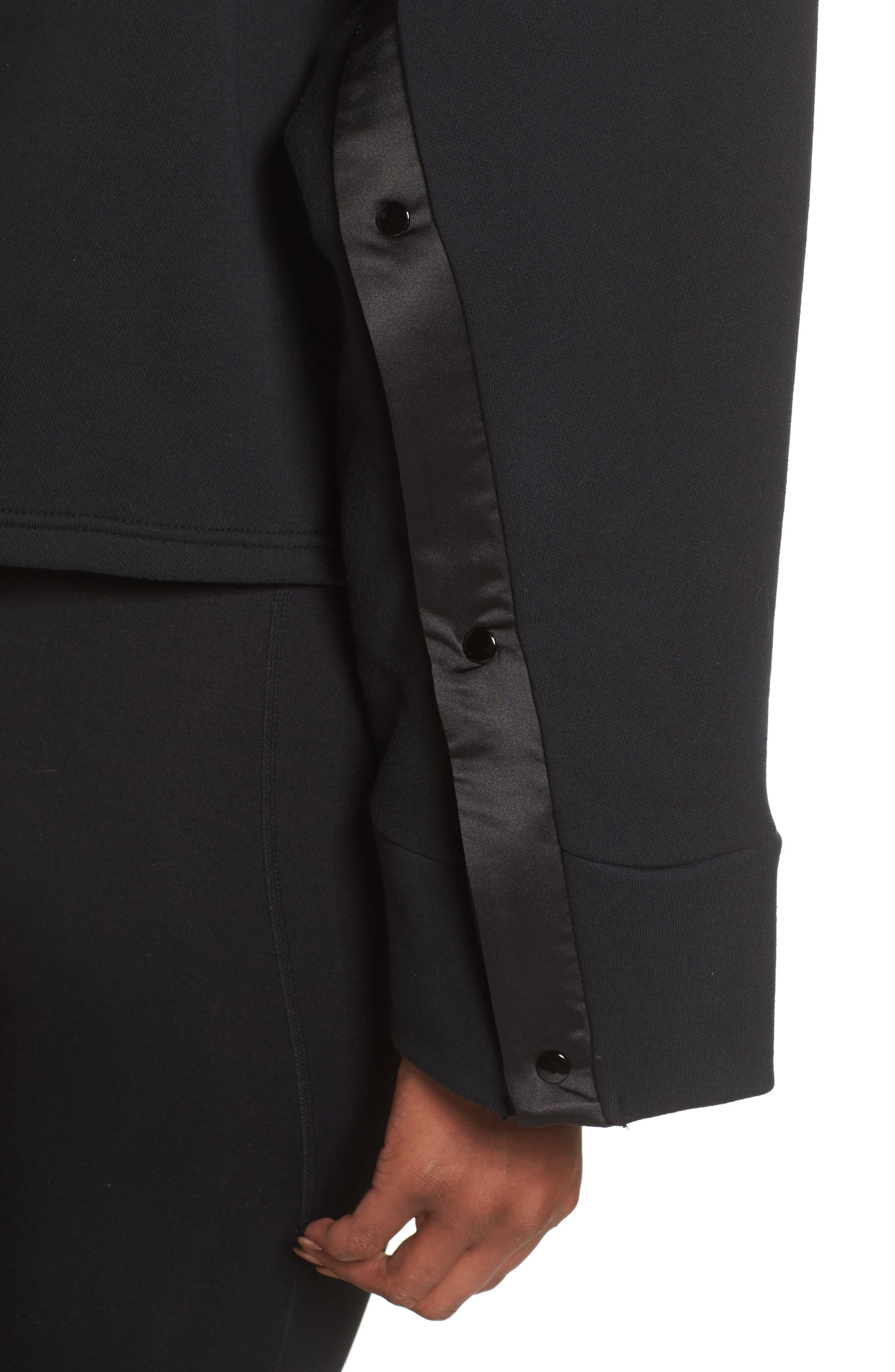Taped V-Neck Top,                             Alternate thumbnail 4, color,                             Cotton Black