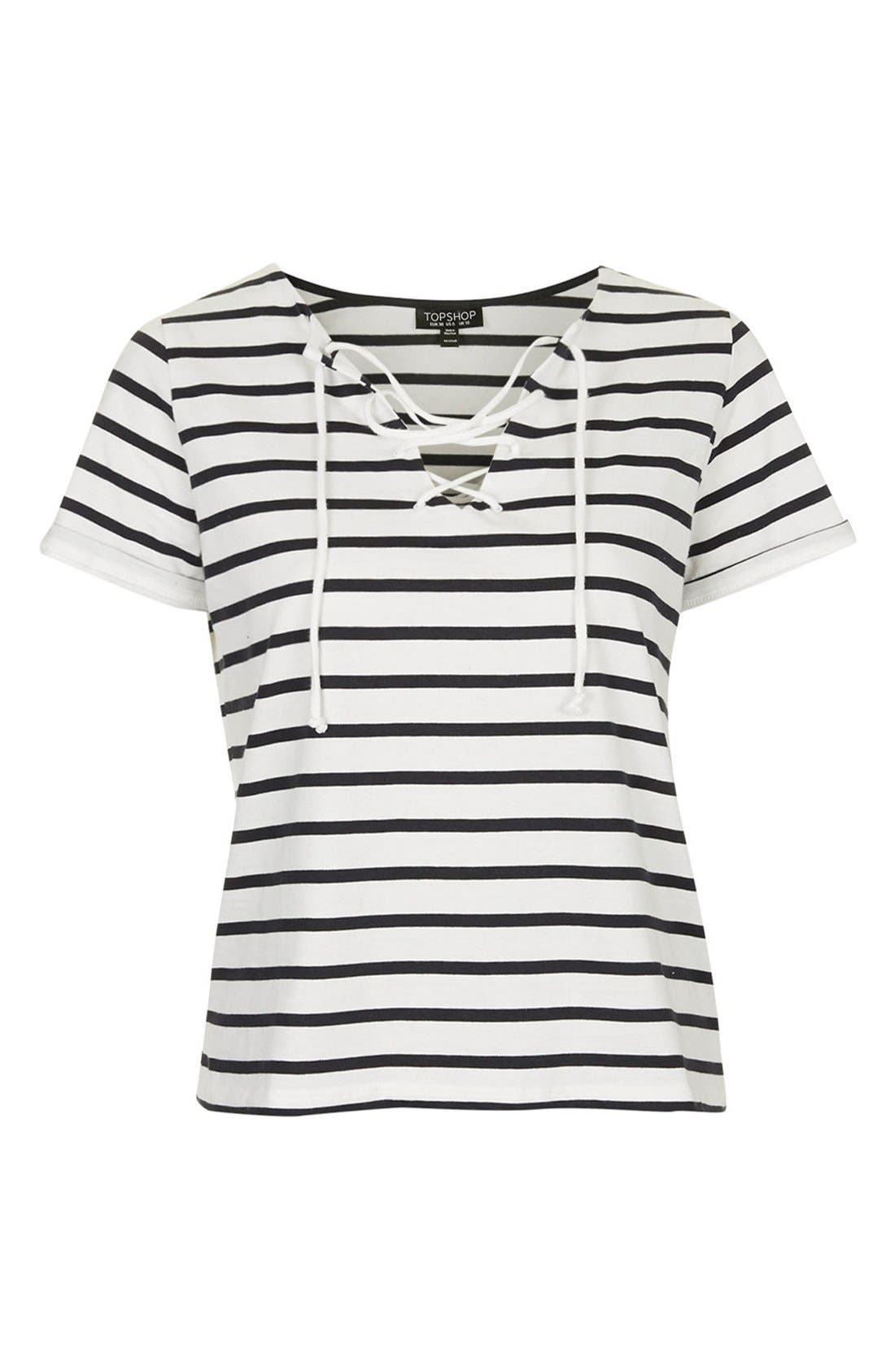 Alternate Image 3  - Topshop Lace-Up Nautical Top