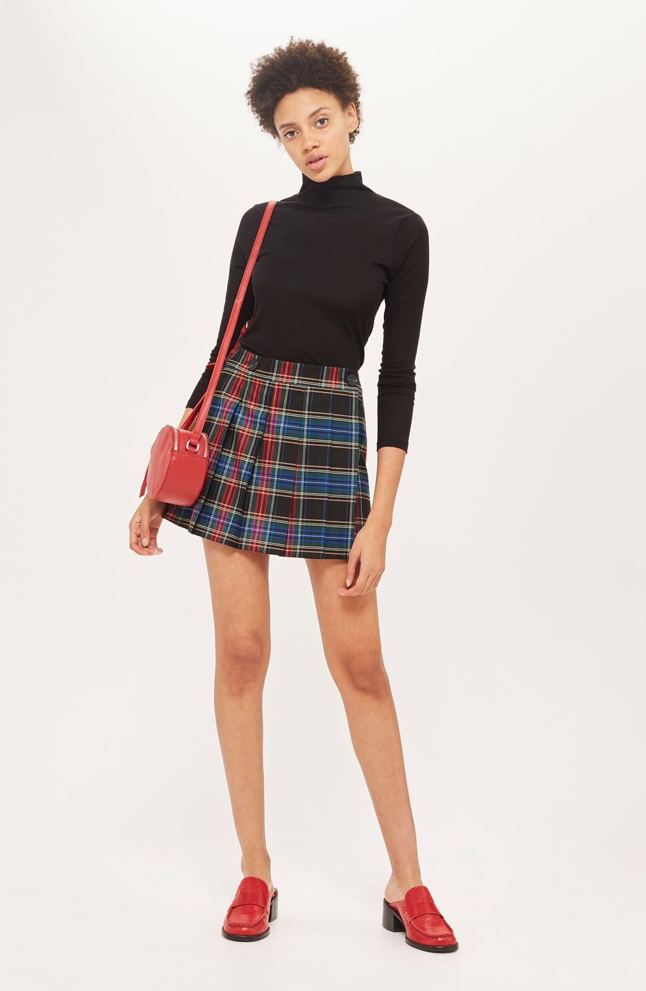 Plaid Kilt Miniskirt,                             Alternate thumbnail 3, color,                             Black Multi