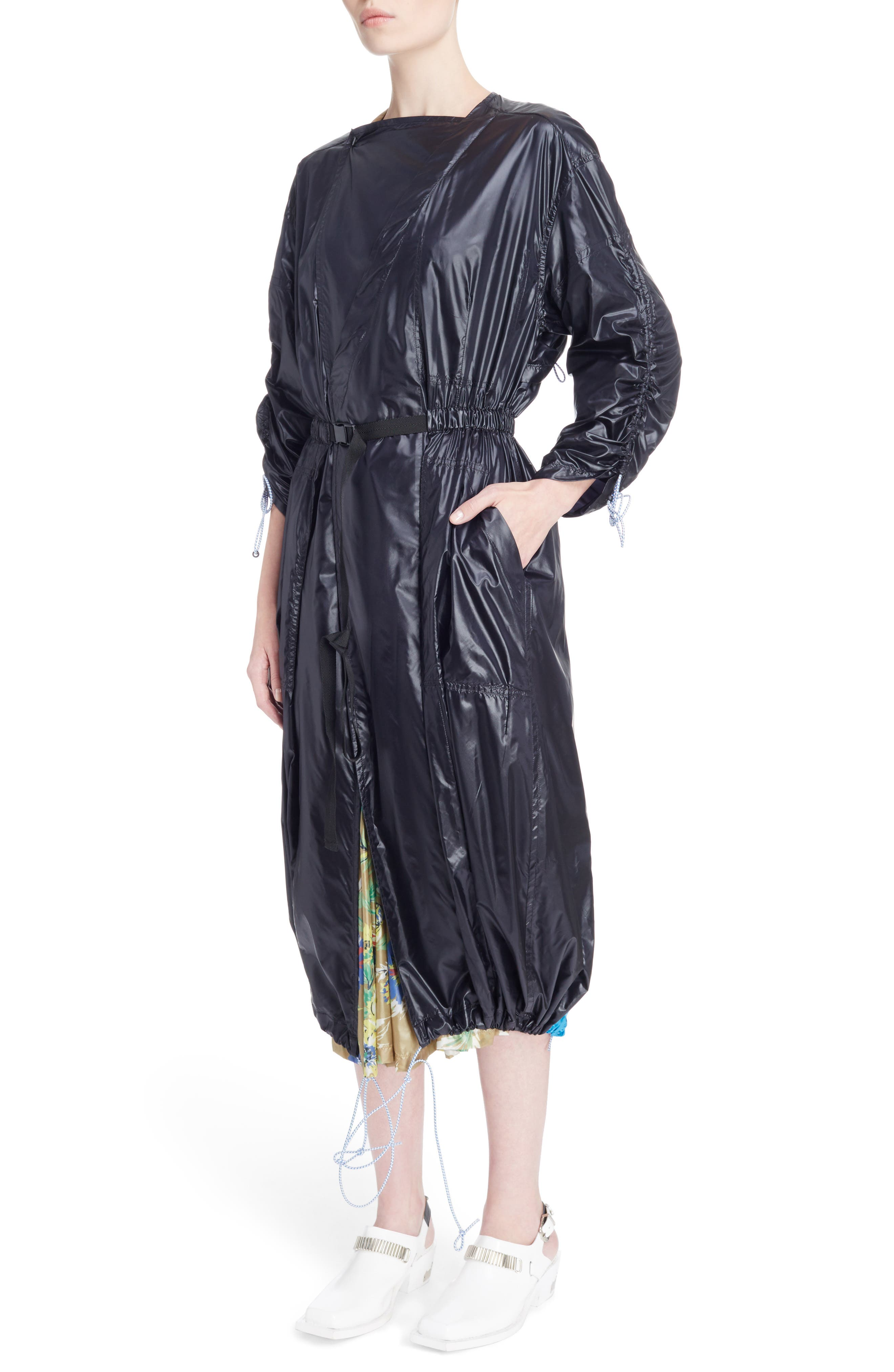 Nylon Trench Coat,                             Alternate thumbnail 4, color,                             Black