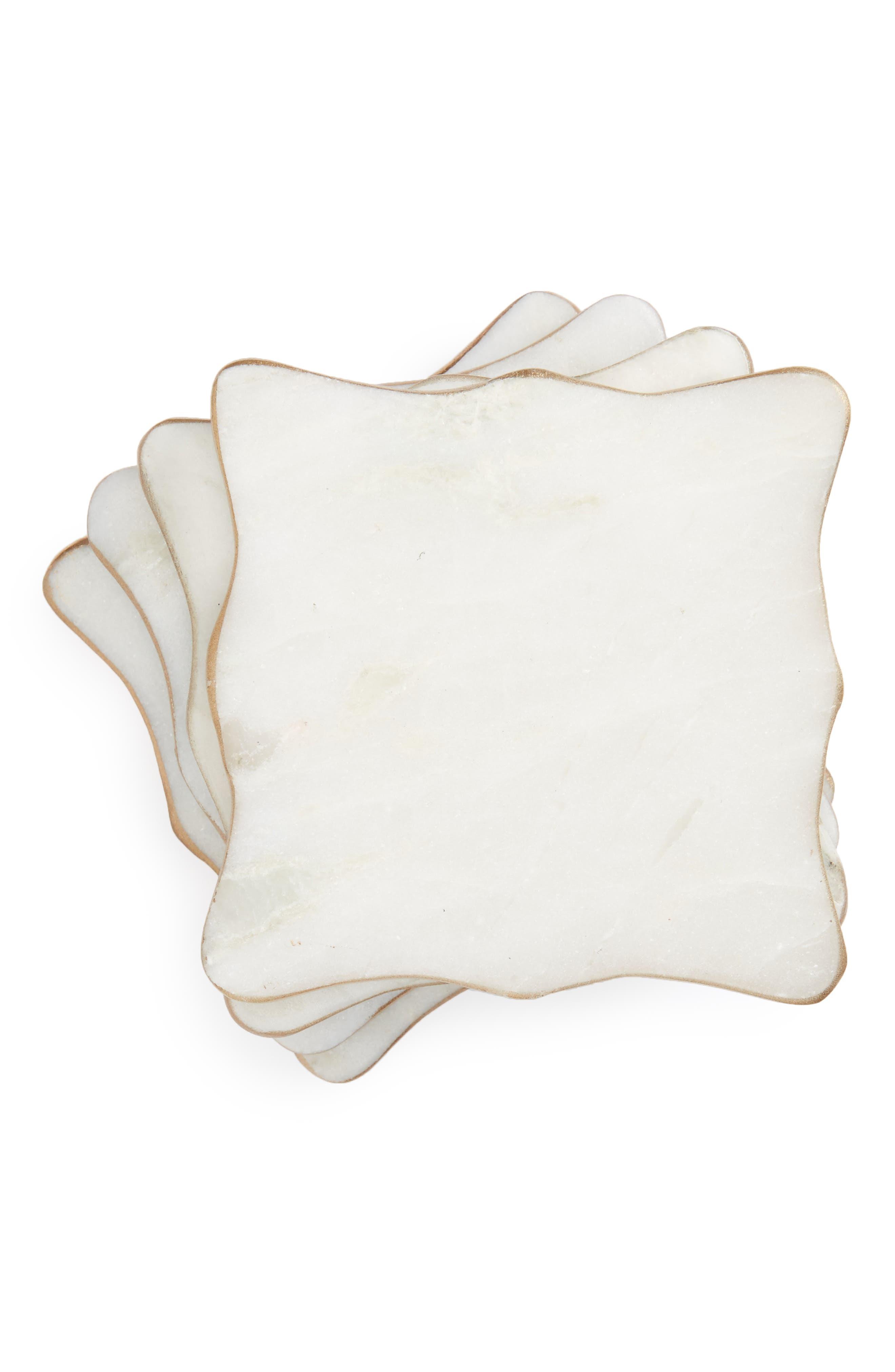 Set of 4 Marble Coasters,                         Main,                         color, White Multi