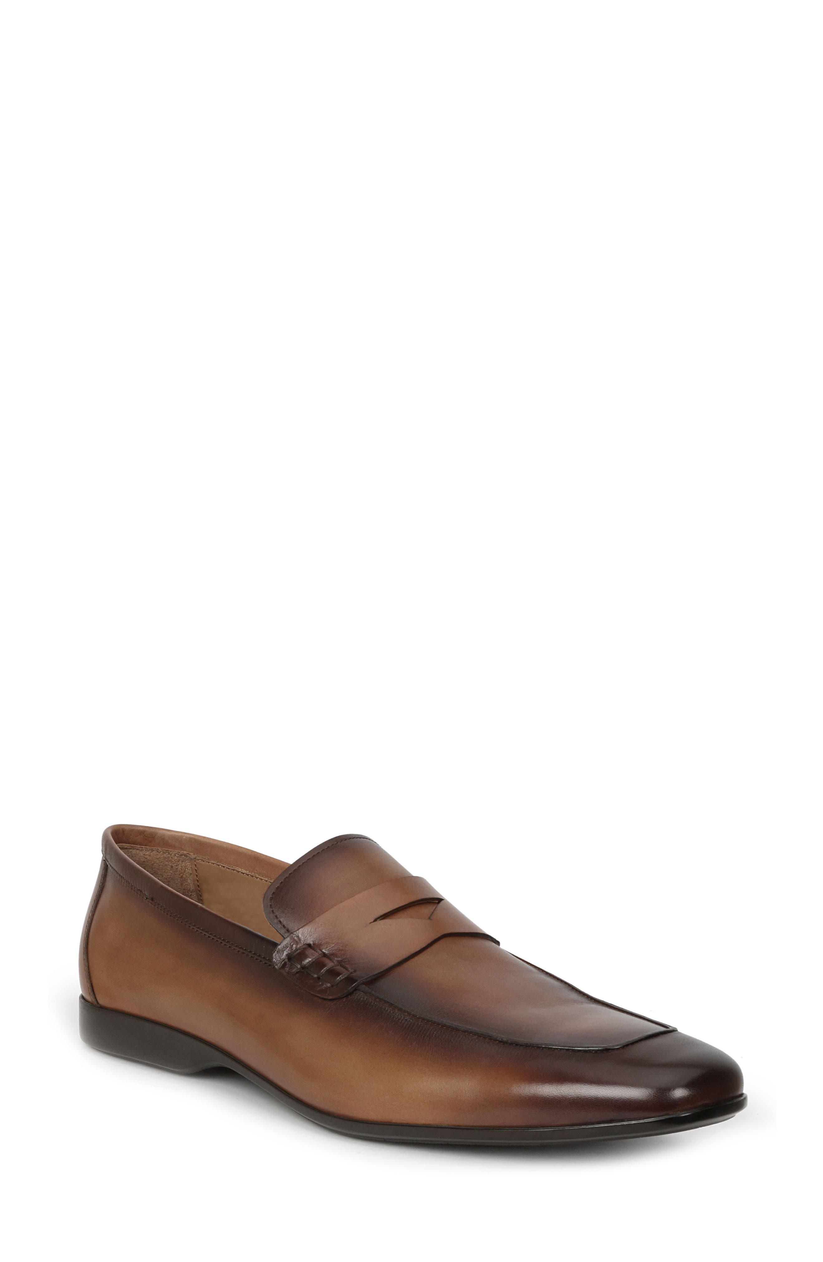 BRUNO MAGLI Margot Burnished Calf Penny Loafers in Cognac