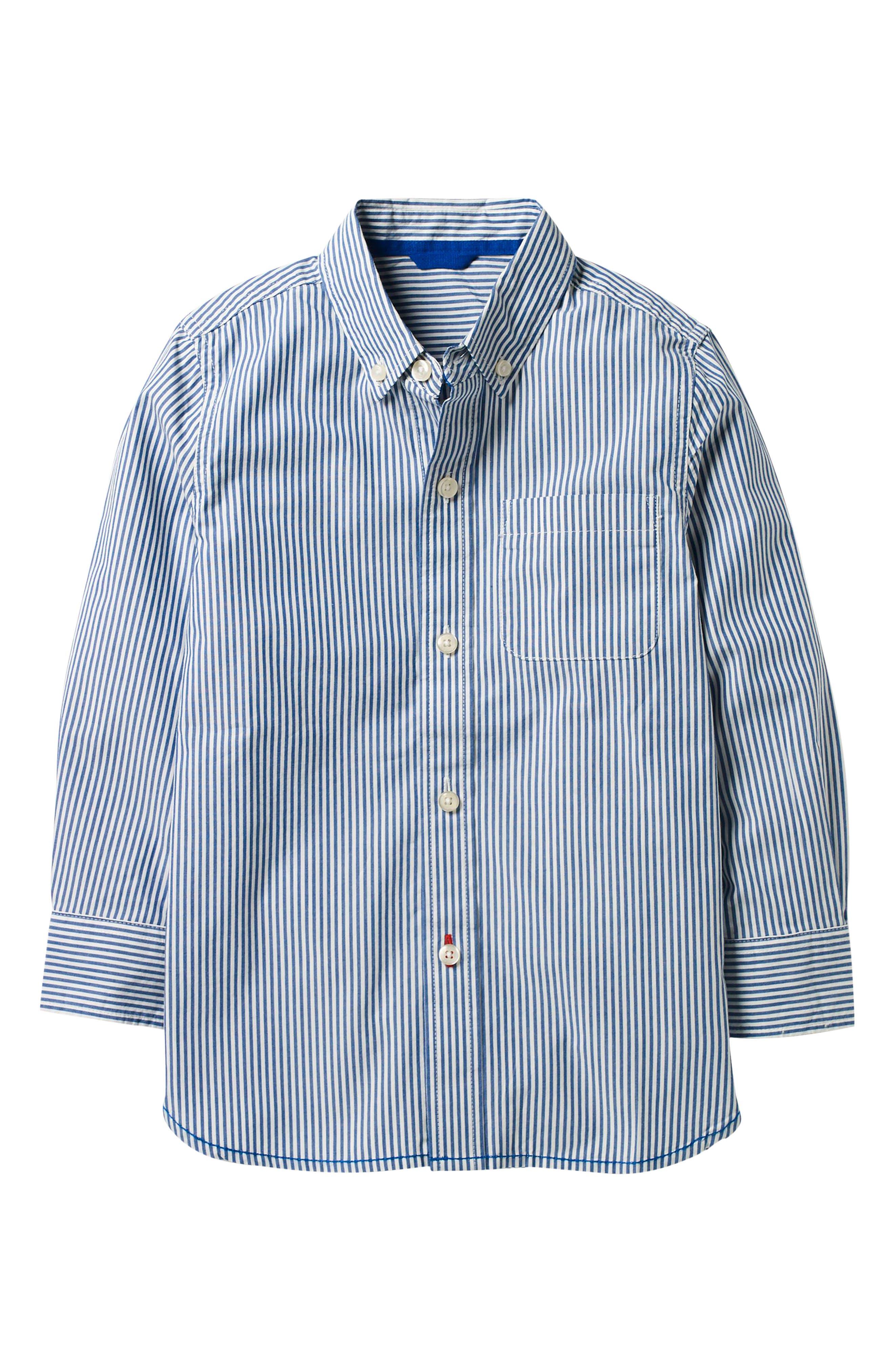 Main Image - Mini Boden Laundered Stripe Woven Shirt (Toddler Boys, Little Boys & Big Boys)