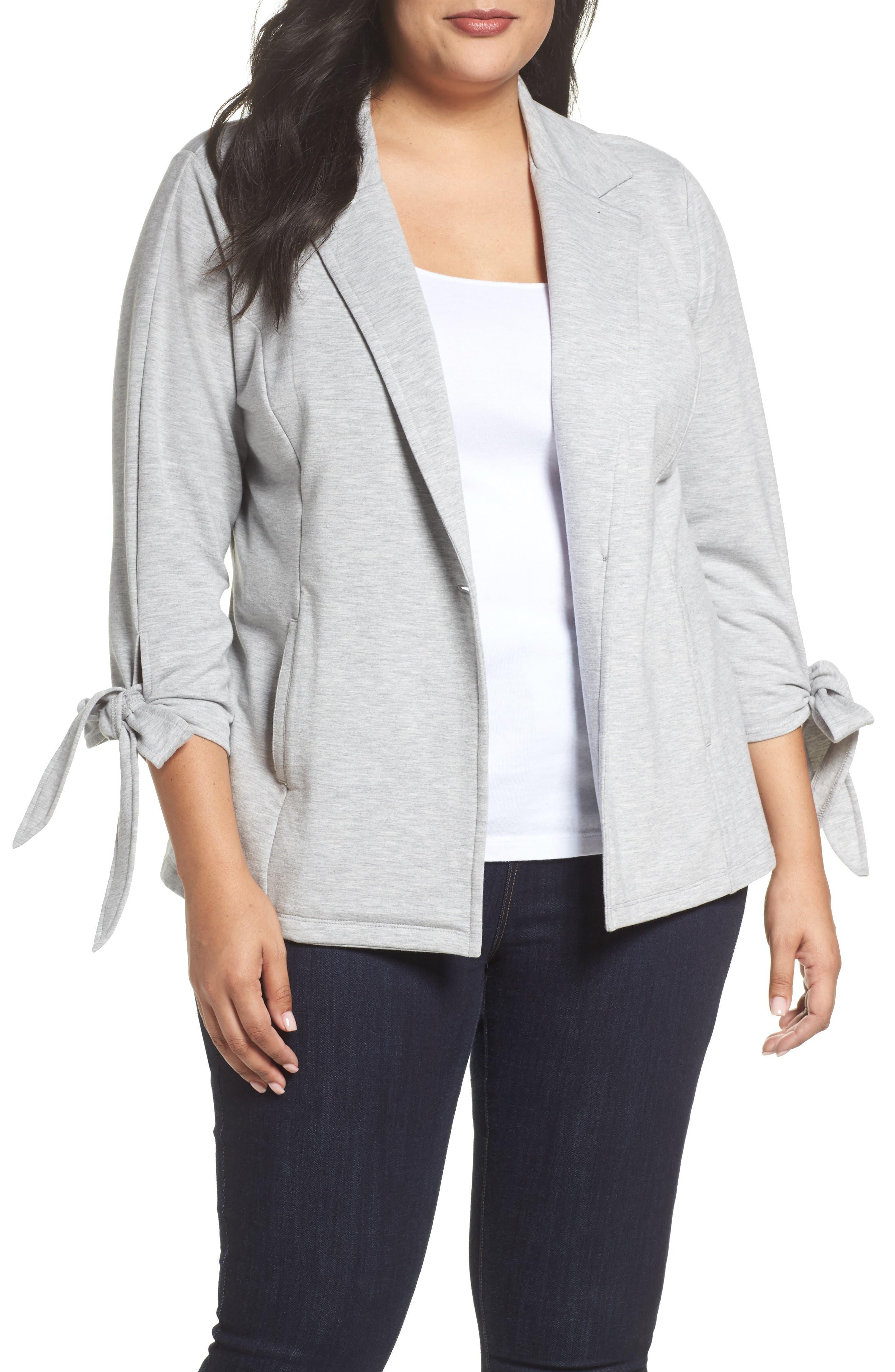 Caslon® Tie Sleeve Knit Blazer (Plus Size)