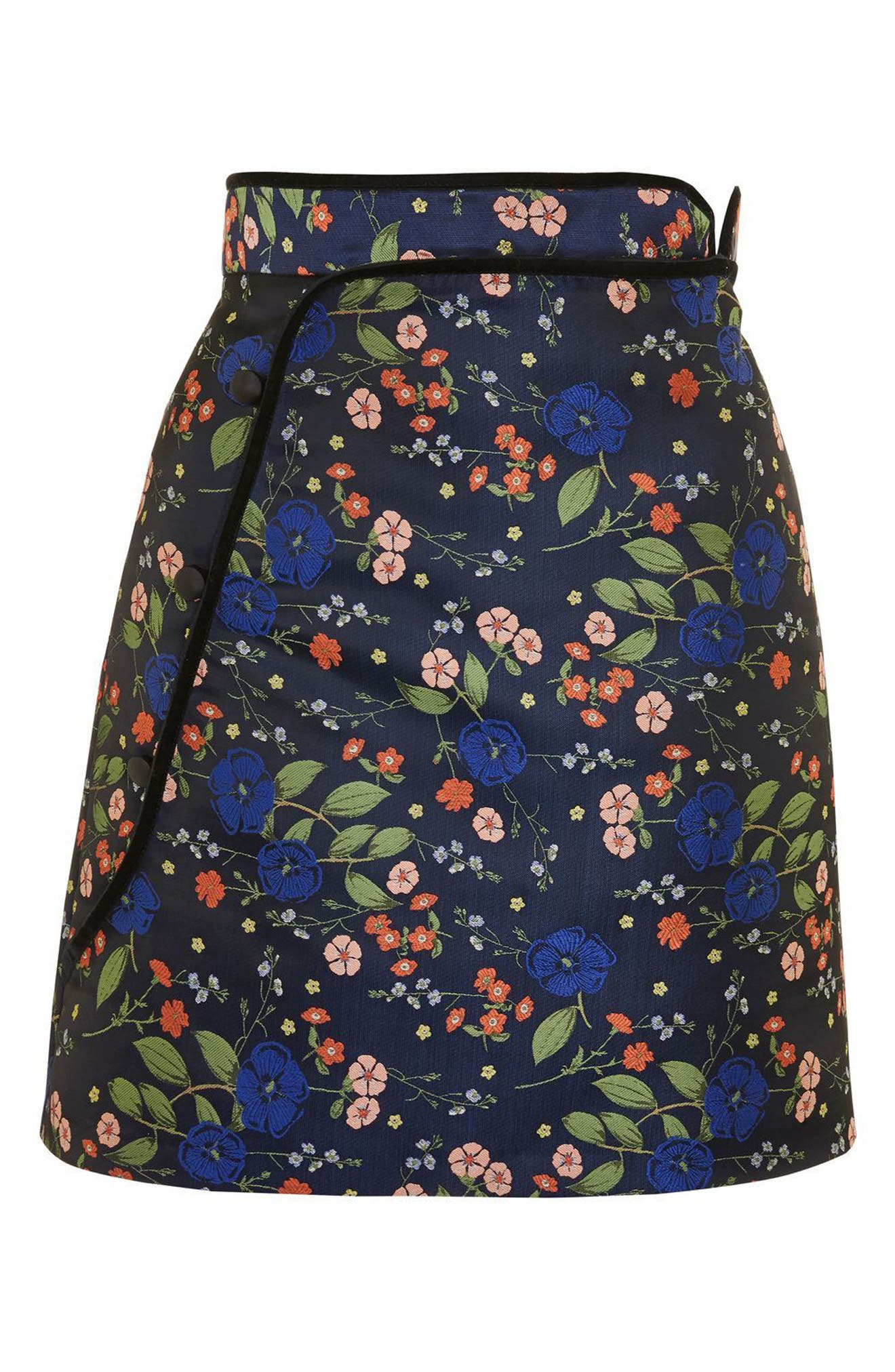 Satin Jacquard Wrap Skirt,                             Alternate thumbnail 3, color,                             Navy Blue Multi